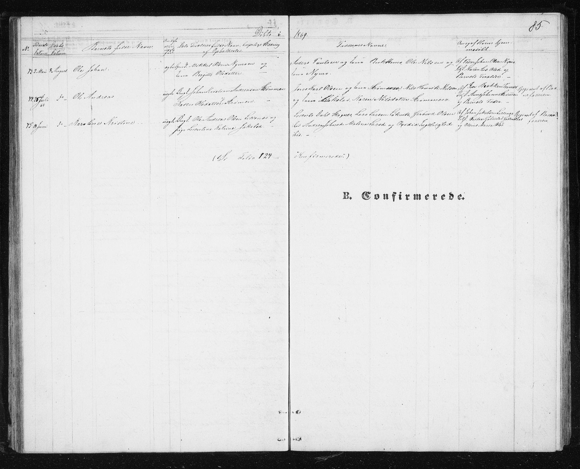 SATØ, Lenvik sokneprestembete, H/Ha: Klokkerbok nr. 4, 1859-1869, s. 85