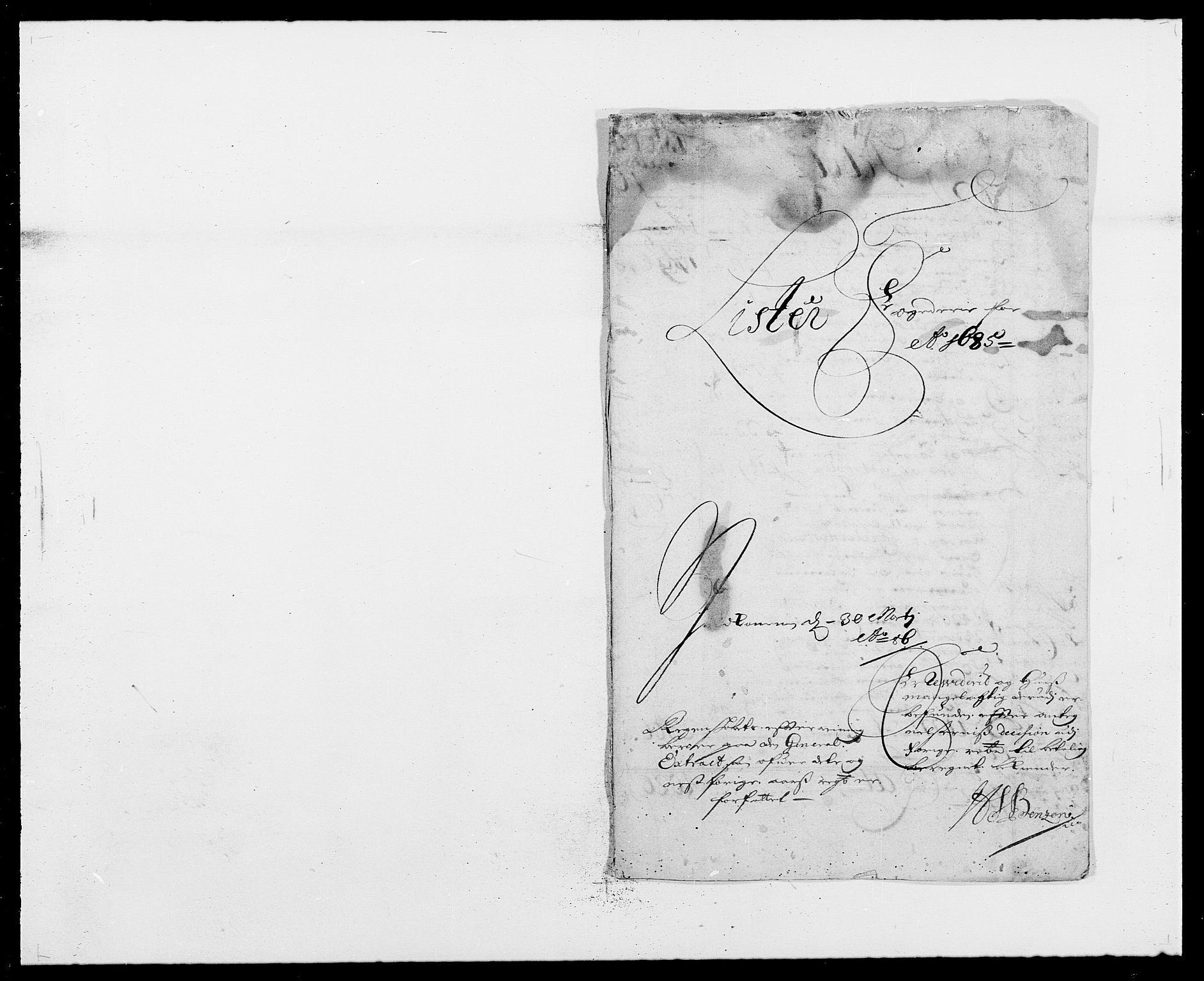 RA, Rentekammeret inntil 1814, Reviderte regnskaper, Fogderegnskap, R41/L2533: Fogderegnskap Lista, 1684-1685, s. 155