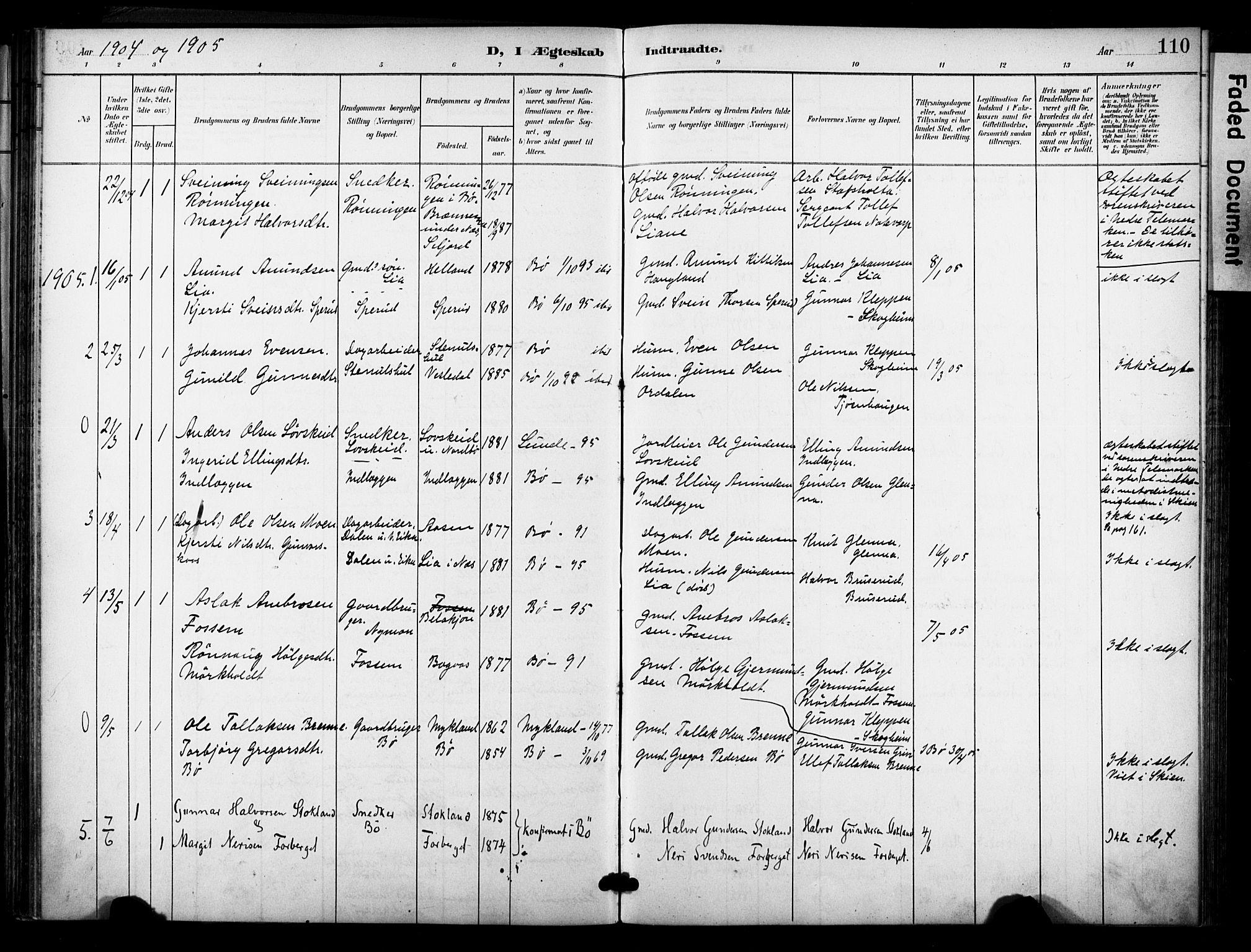 SAKO, Bø kirkebøker, F/Fa/L0012: Ministerialbok nr. 12, 1900-1908, s. 110