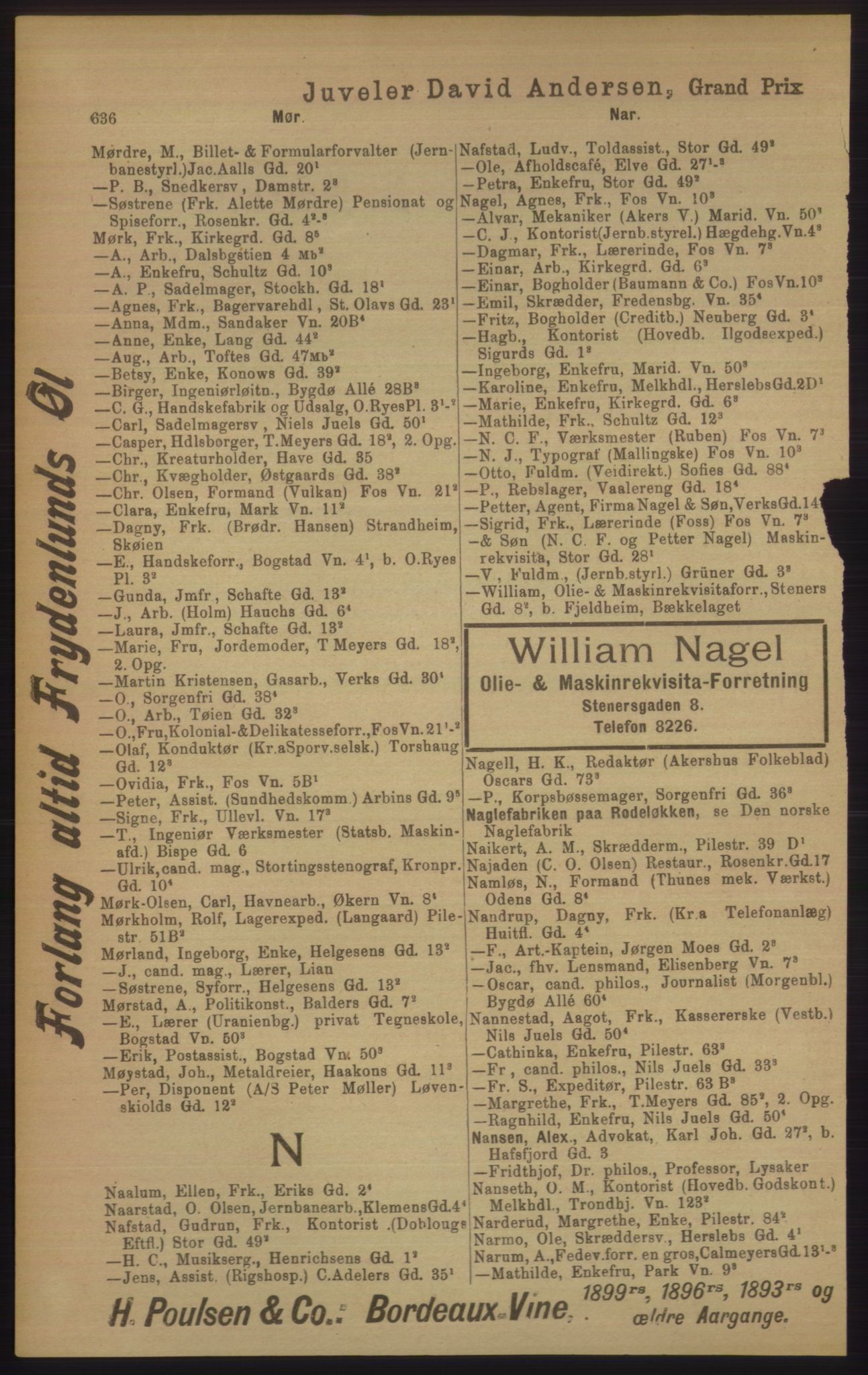 PUBL, Kristiania/Oslo adressebok, 1906, s. 636