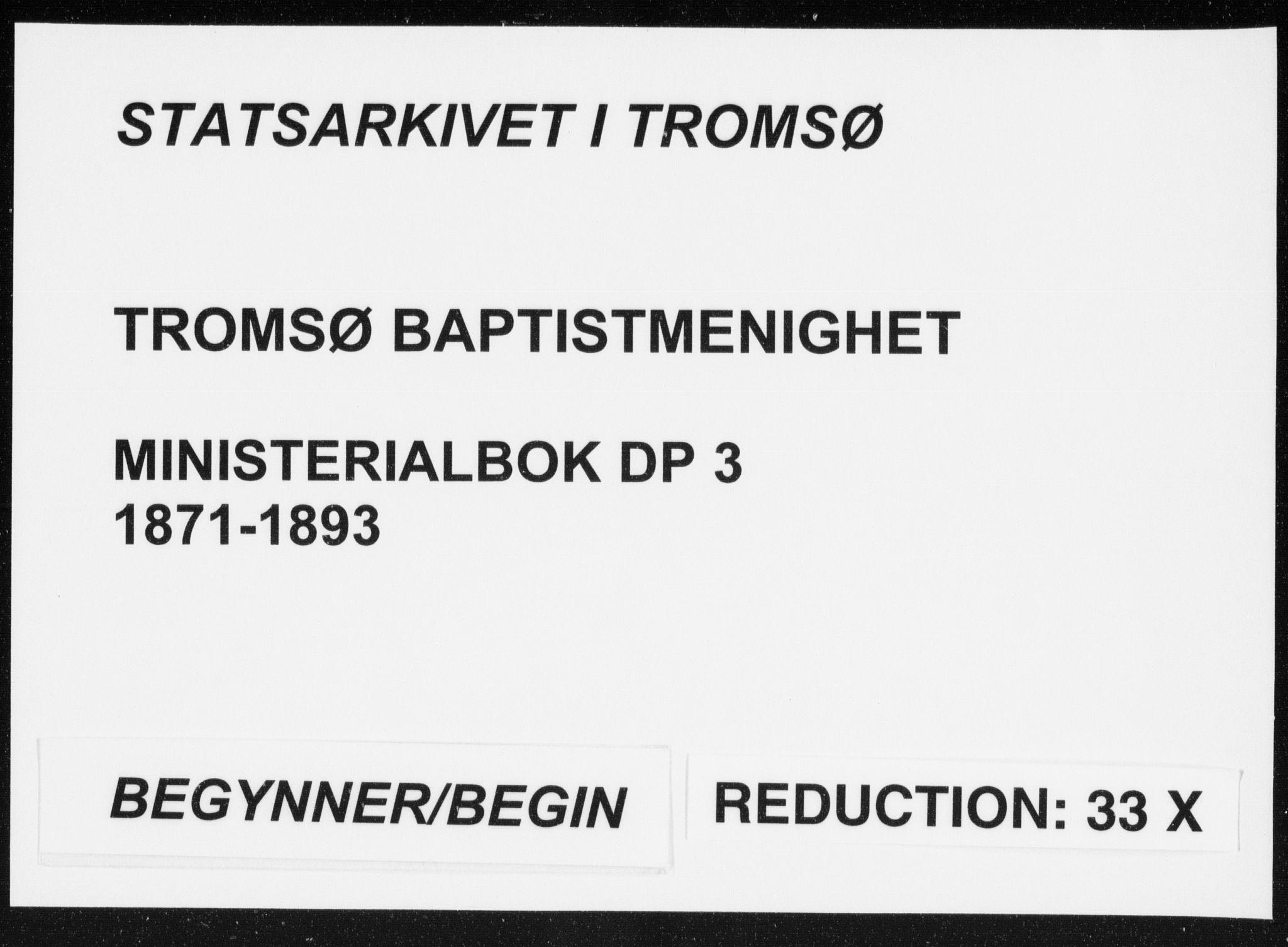 SATØ, Uten arkivreferanse, Dissenterprotokoll nr. DP 3, 1871-1893