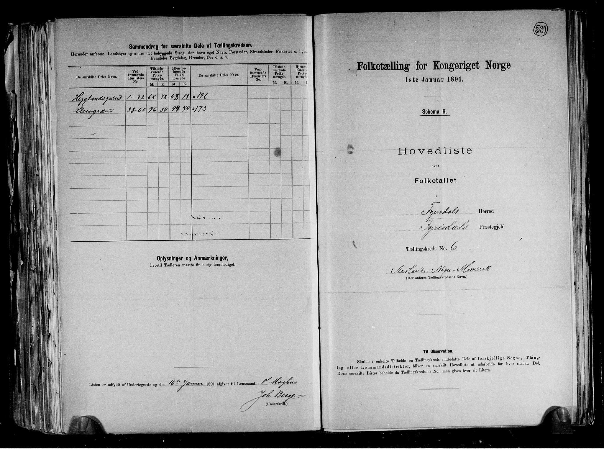 RA, Folketelling 1891 for 0831 Fyresdal herred, 1891, s. 16