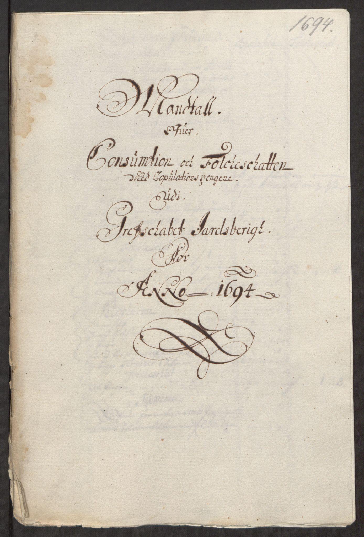 RA, Rentekammeret inntil 1814, Reviderte regnskaper, Fogderegnskap, R32/L1867: Fogderegnskap Jarlsberg grevskap, 1694-1696, s. 15