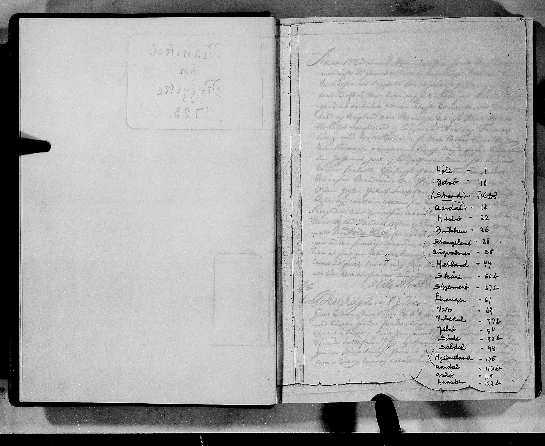 RA, Rentekammeret inntil 1814, Realistisk ordnet avdeling, N/Nb/Nbf/L0133a: Ryfylke eksaminasjonsprotokoll, 1723, s. upaginert