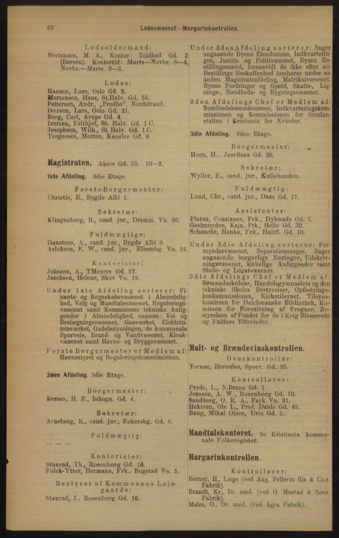 RA, Kristiania adressebok (publikasjon)*, 1906, s. 62