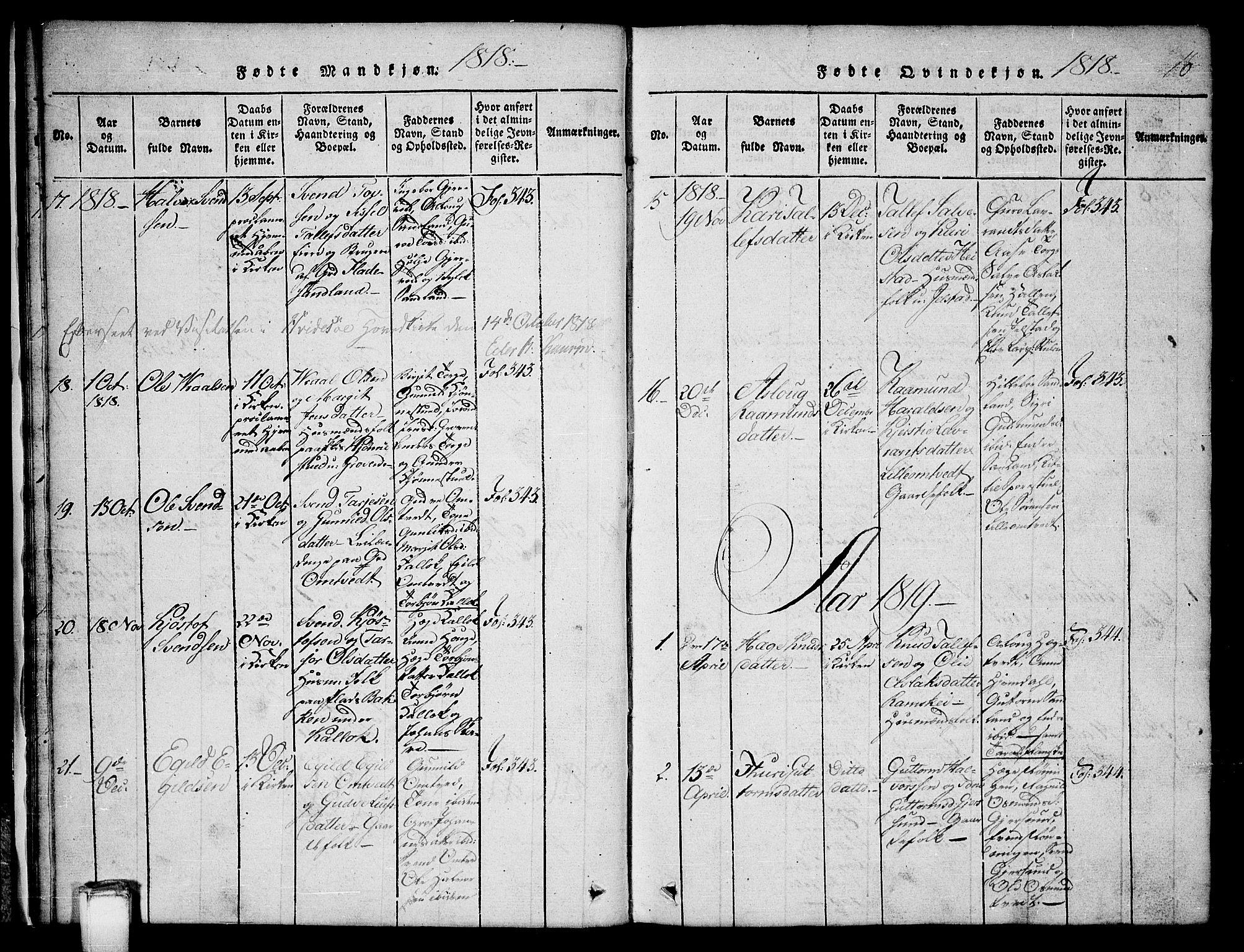 SAKO, Kviteseid kirkebøker, G/Gb/L0001: Klokkerbok nr. II 1, 1815-1842, s. 16