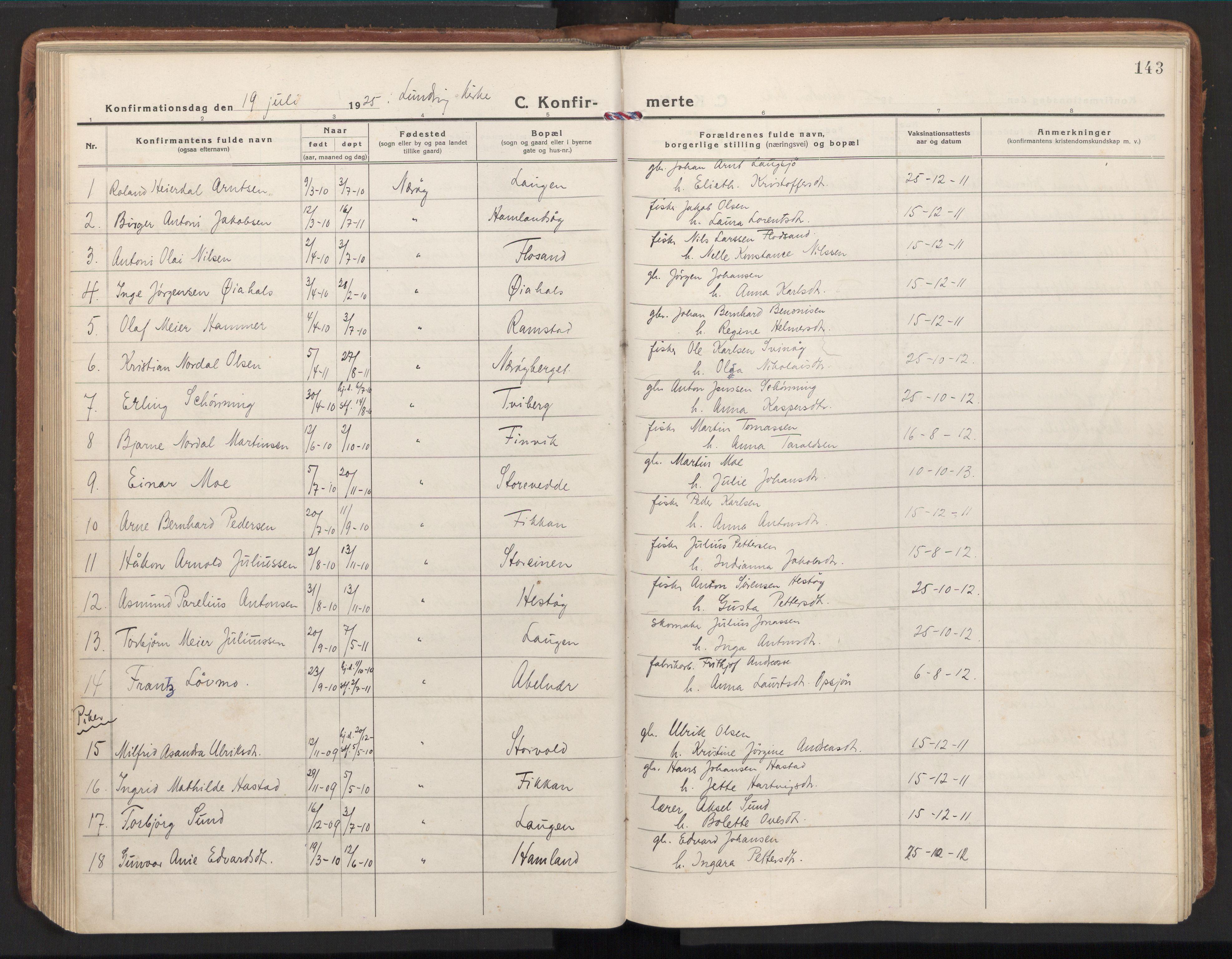SAT, Ministerialprotokoller, klokkerbøker og fødselsregistre - Nord-Trøndelag, 784/L0678: Ministerialbok nr. 784A13, 1921-1938, s. 143
