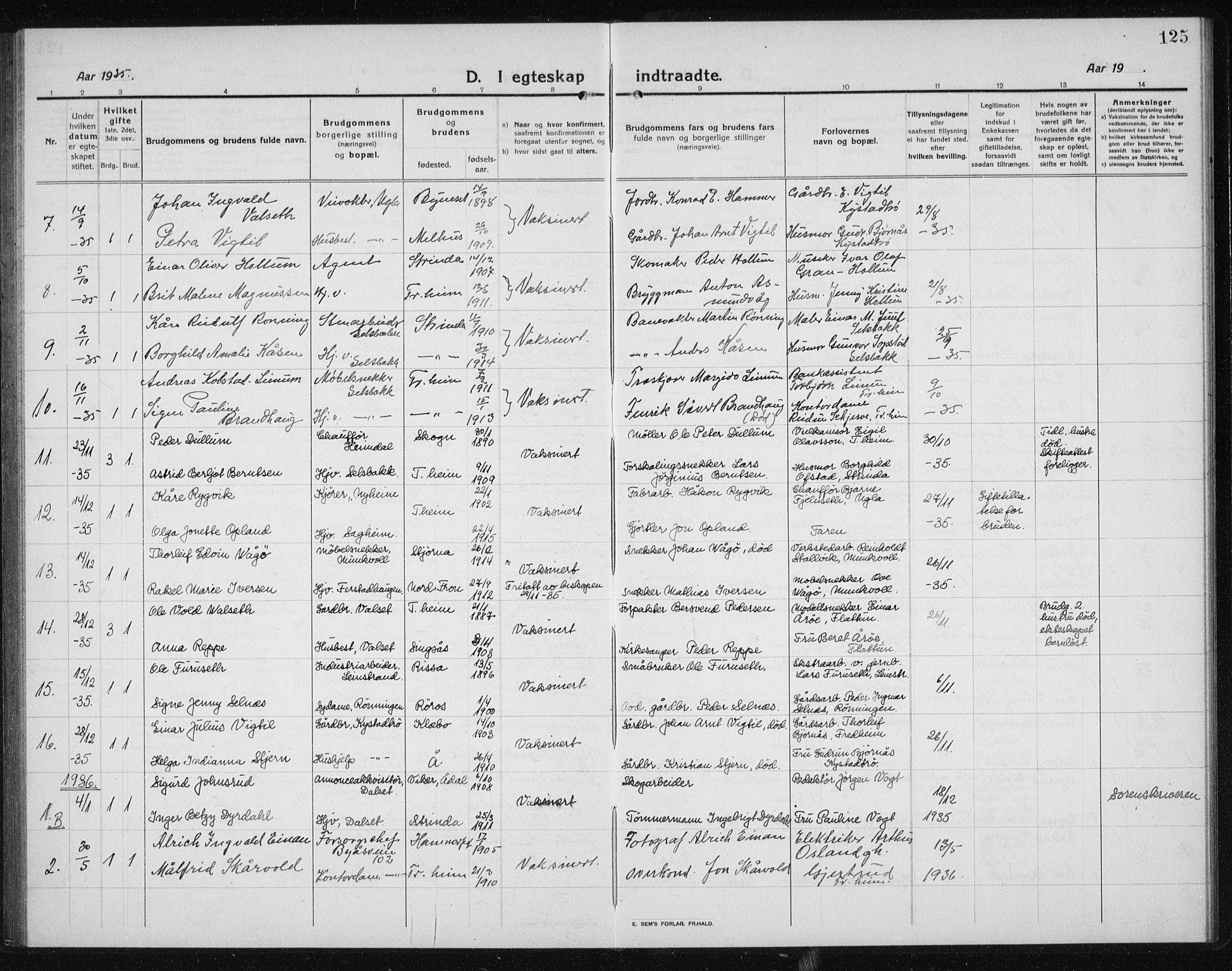 SAT, Ministerialprotokoller, klokkerbøker og fødselsregistre - Sør-Trøndelag, 611/L0356: Klokkerbok nr. 611C04, 1914-1938, s. 125