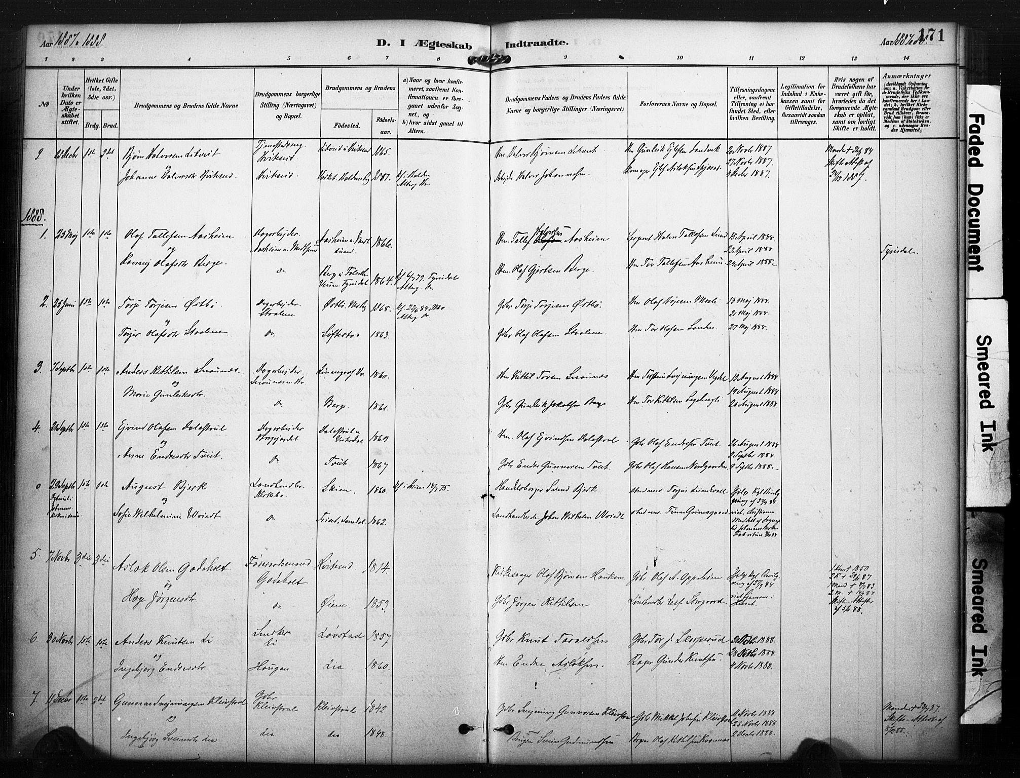 SAKO, Kviteseid kirkebøker, F/Fa/L0008: Ministerialbok nr. I 8, 1882-1903, s. 171