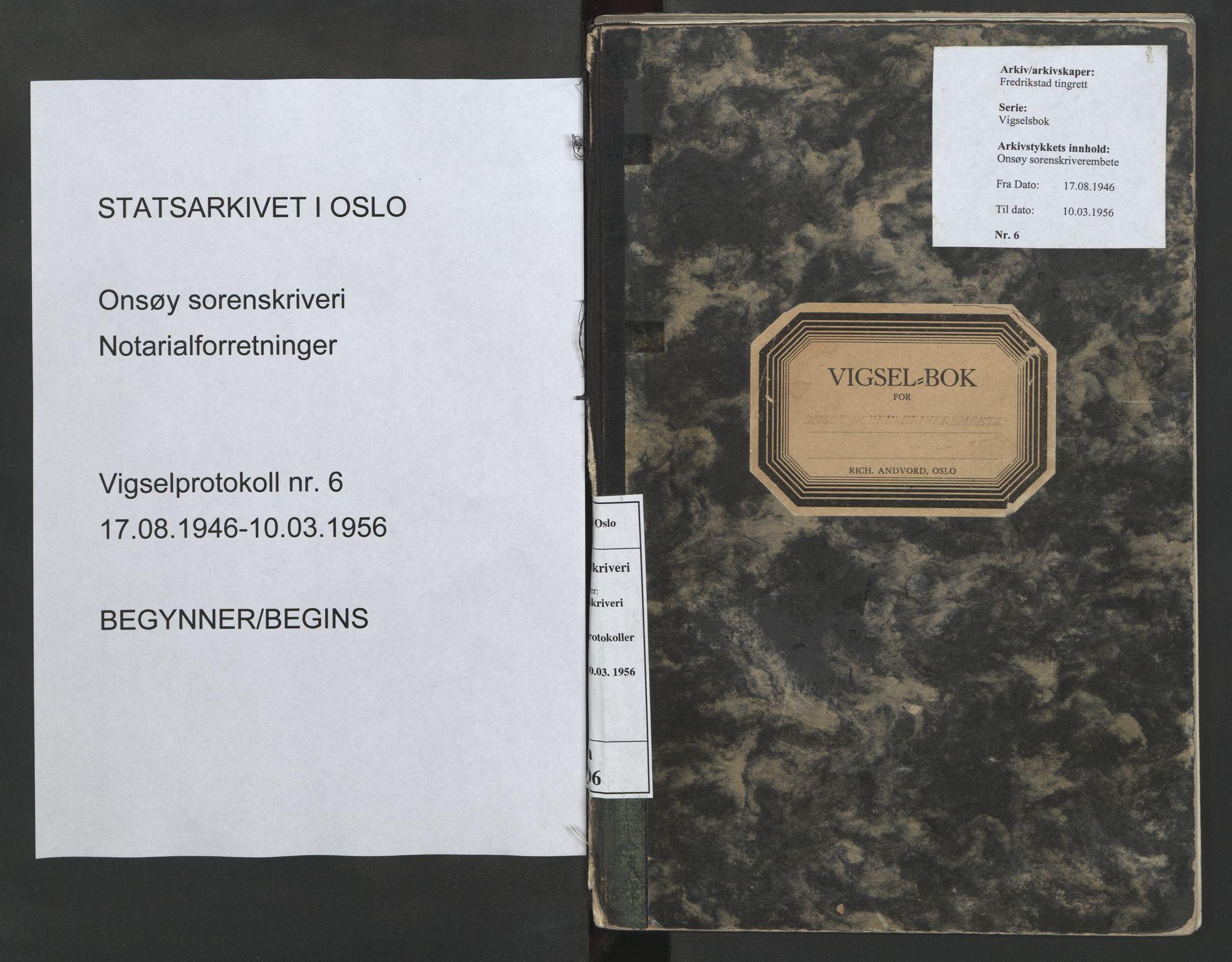 SAO, Onsøy sorenskriveri, L/La/L0006: Vigselsbok, 1946-1956, s. upaginert