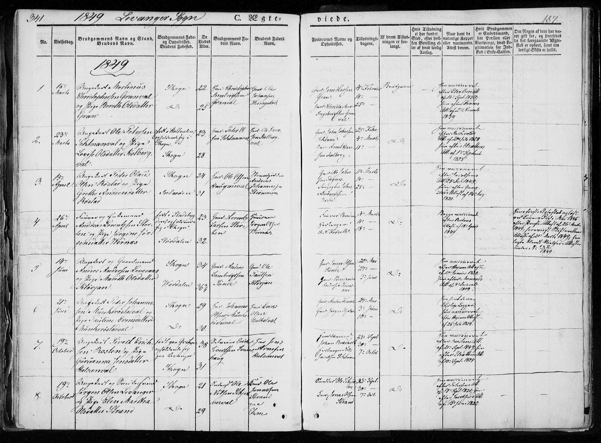 SAT, Ministerialprotokoller, klokkerbøker og fødselsregistre - Nord-Trøndelag, 720/L0183: Ministerialbok nr. 720A01, 1836-1855, s. 187