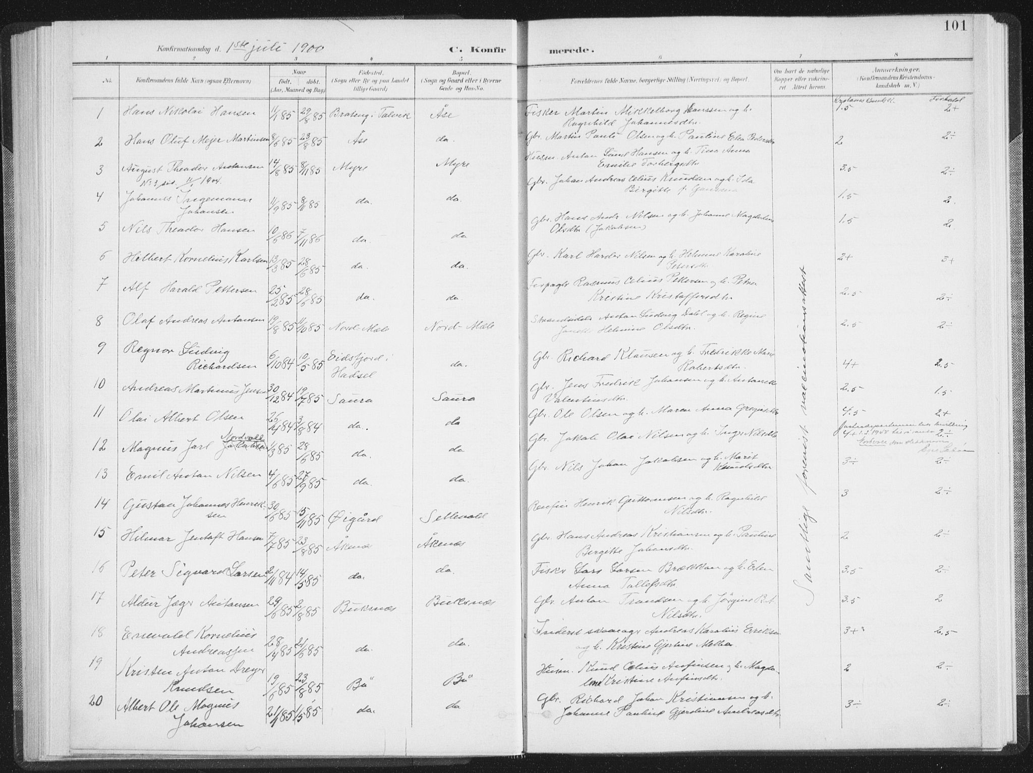 SAT, Ministerialprotokoller, klokkerbøker og fødselsregistre - Nordland, 897/L1400: Ministerialbok nr. 897A07, 1897-1908, s. 101