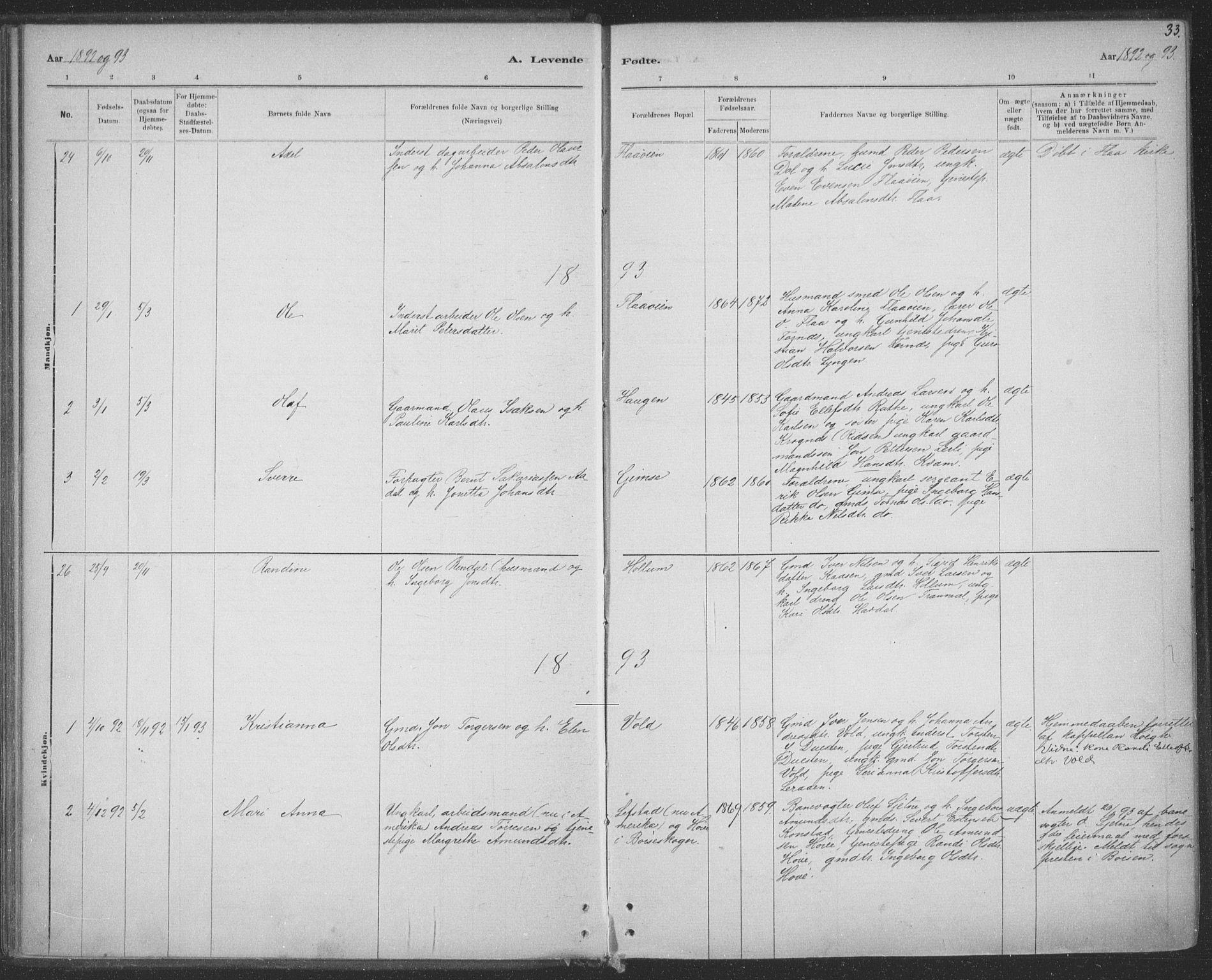 SAT, Ministerialprotokoller, klokkerbøker og fødselsregistre - Sør-Trøndelag, 691/L1085: Ministerialbok nr. 691A17, 1887-1908, s. 33