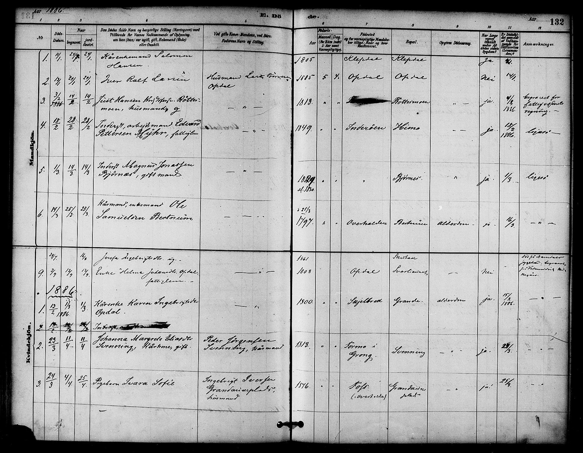 SAT, Ministerialprotokoller, klokkerbøker og fødselsregistre - Nord-Trøndelag, 764/L0555: Ministerialbok nr. 764A10, 1881-1896, s. 132
