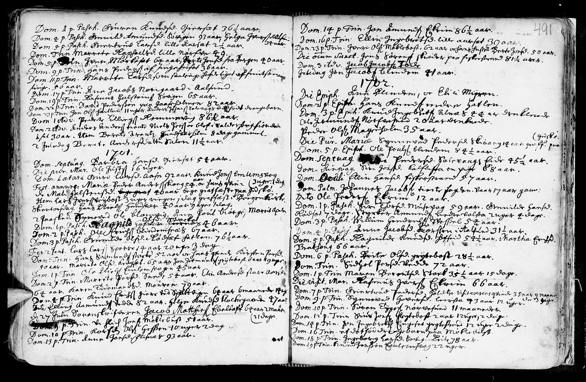 SAT, Ministerialprotokoller, klokkerbøker og fødselsregistre - Møre og Romsdal, 528/L0390: Ministerialbok nr. 528A01, 1698-1739, s. 490-491