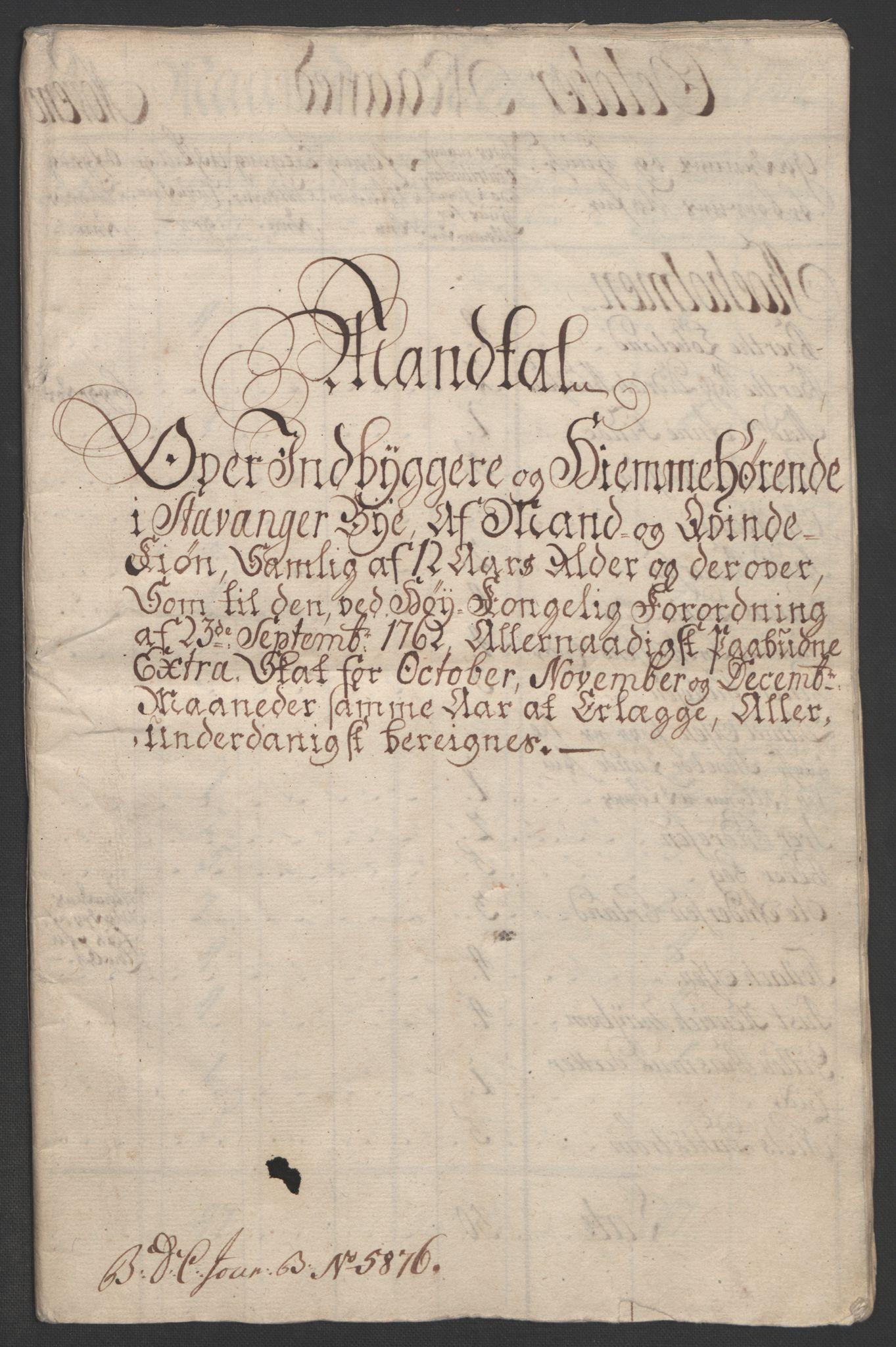 RA, Rentekammeret inntil 1814, Realistisk ordnet avdeling, Ol/L0015: [Gg 10]: Ekstraskatten, 23.09.1762. Stavanger by, Jæren og Dalane, Bergen, 1762-1764, s. 33