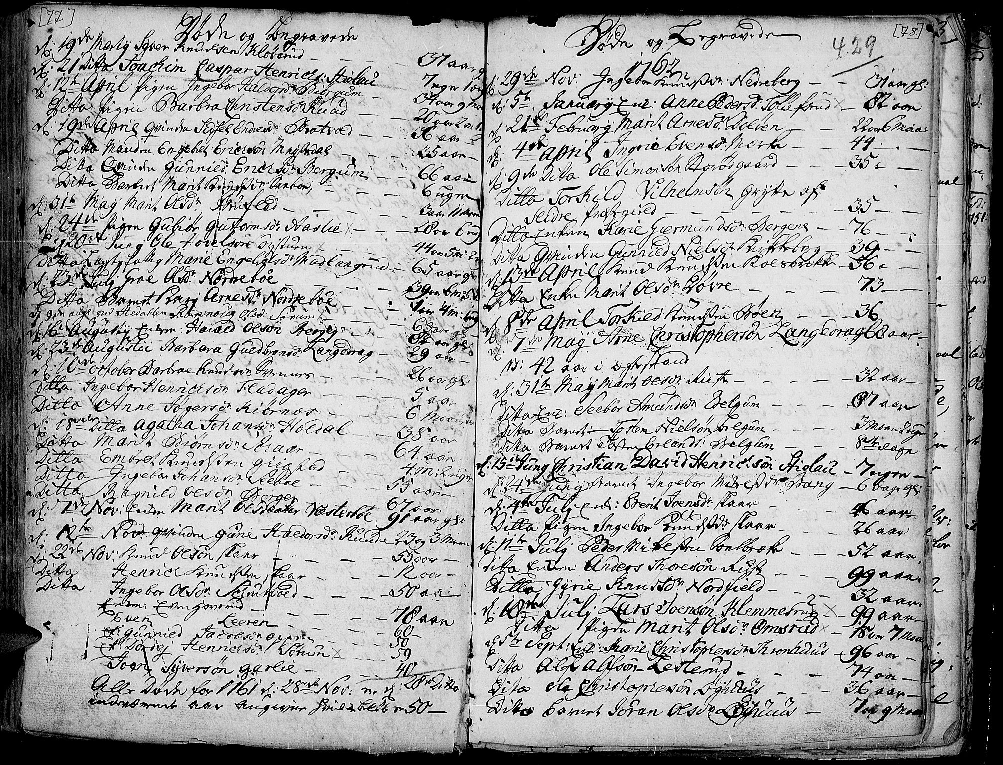 SAH, Aurdal prestekontor, Ministerialbok nr. 4, 1730-1762, s. 77-78