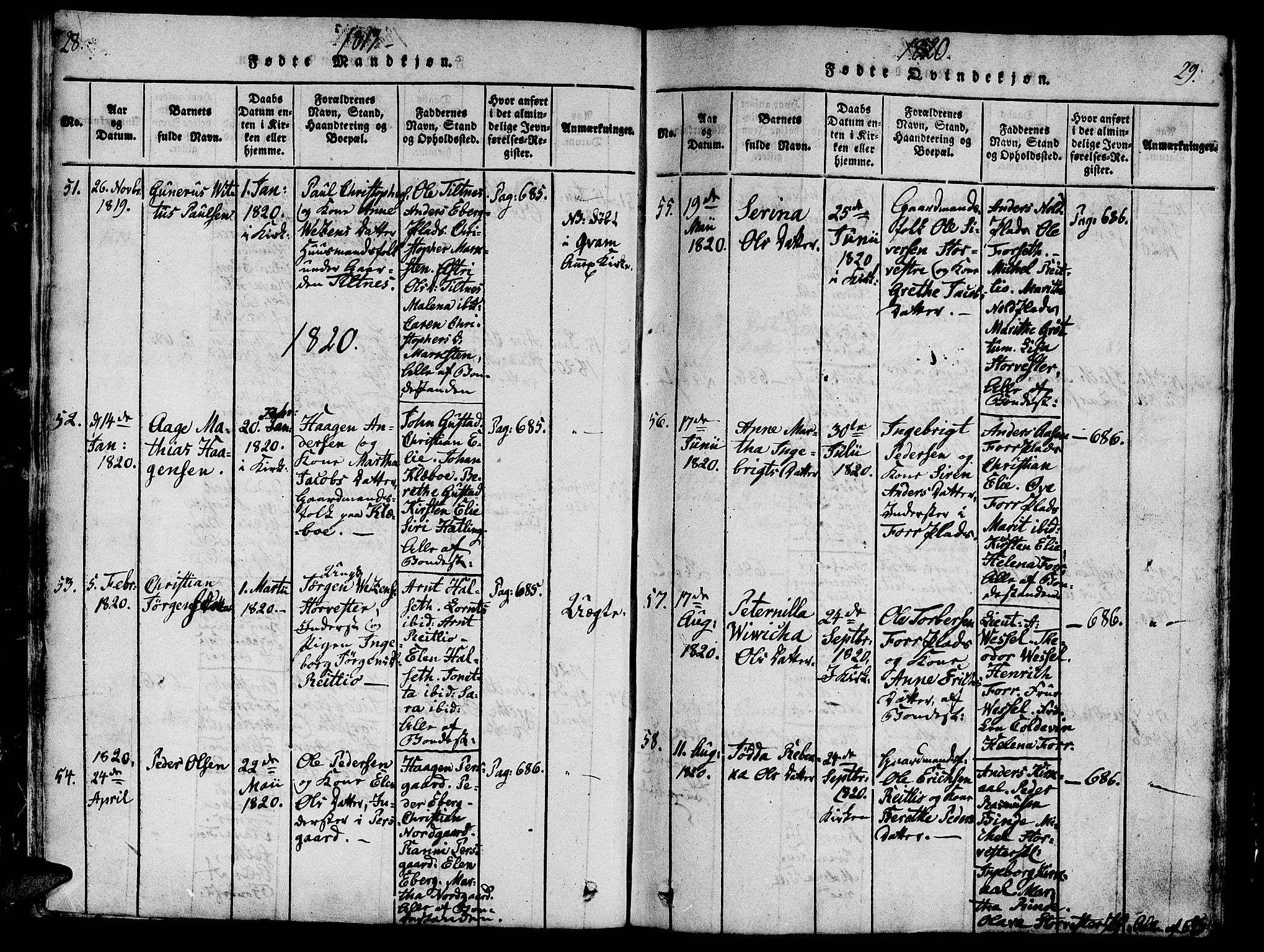 SAT, Ministerialprotokoller, klokkerbøker og fødselsregistre - Nord-Trøndelag, 746/L0441: Ministerialbok nr. 746A03 /1, 1816-1827, s. 28-29