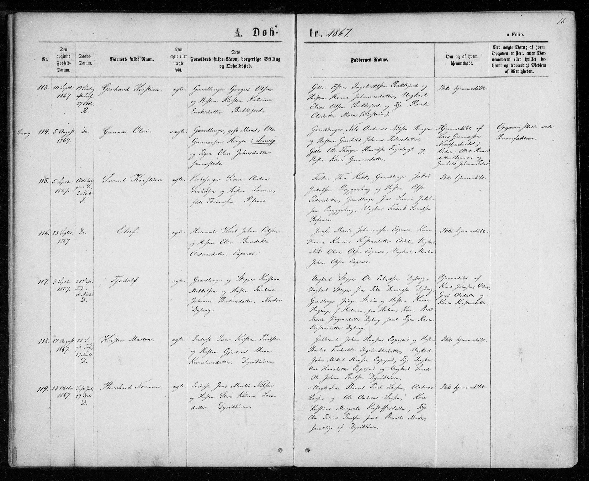 SATØ, Tranøy sokneprestkontor, I/Ia/Iaa/L0008kirke: Ministerialbok nr. 8, 1867-1877, s. 16