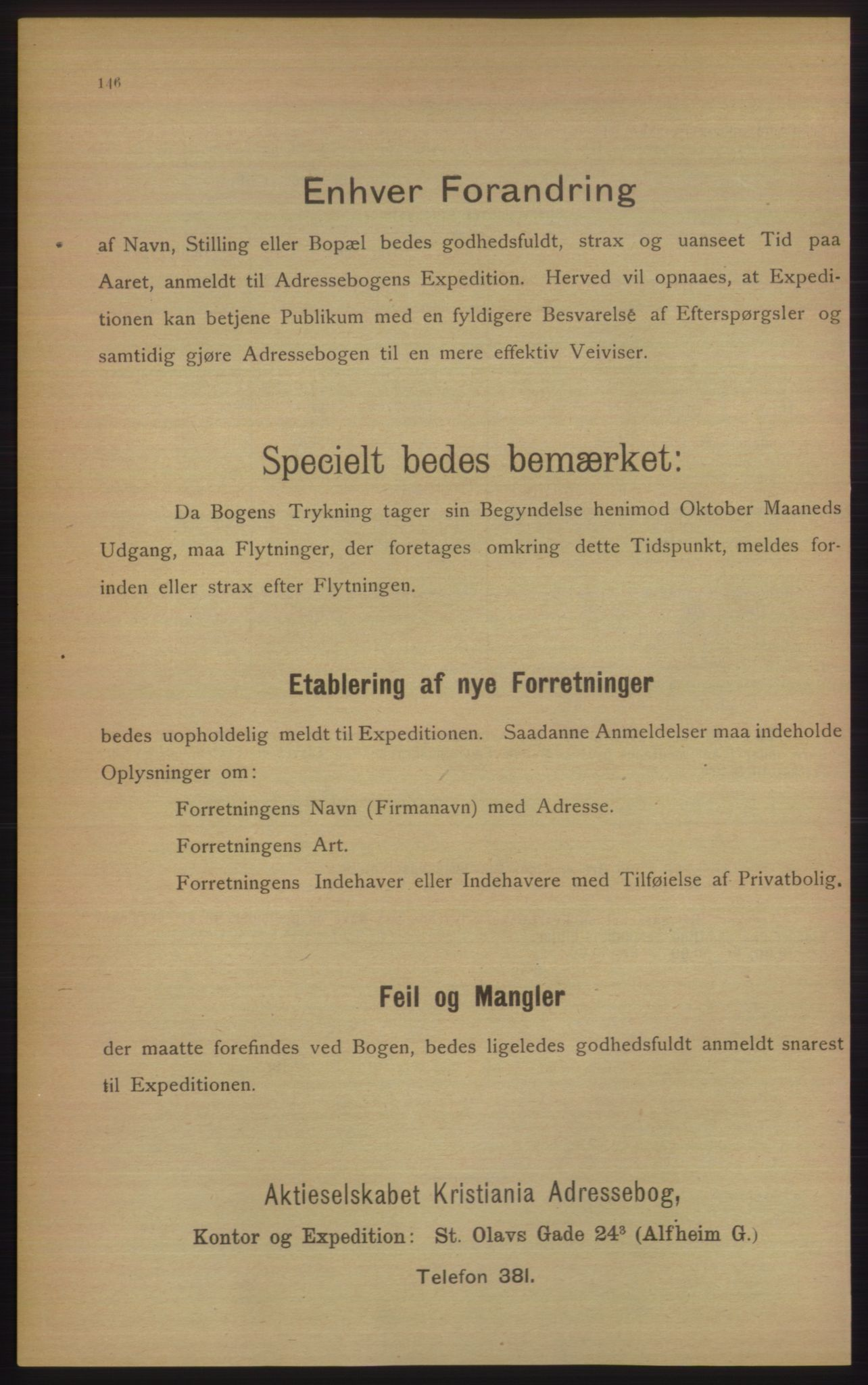 RA, Kristiania adressebok (publikasjon)*, 1906, s. 146