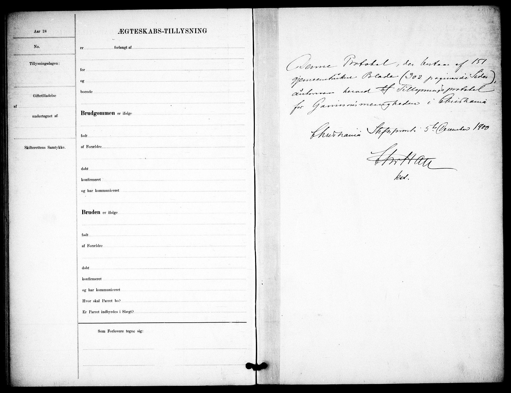 SAO, Garnisonsmenigheten Kirkebøker, H/Ha/L0008: Lysningsprotokoll nr. I 8, 1894-1908