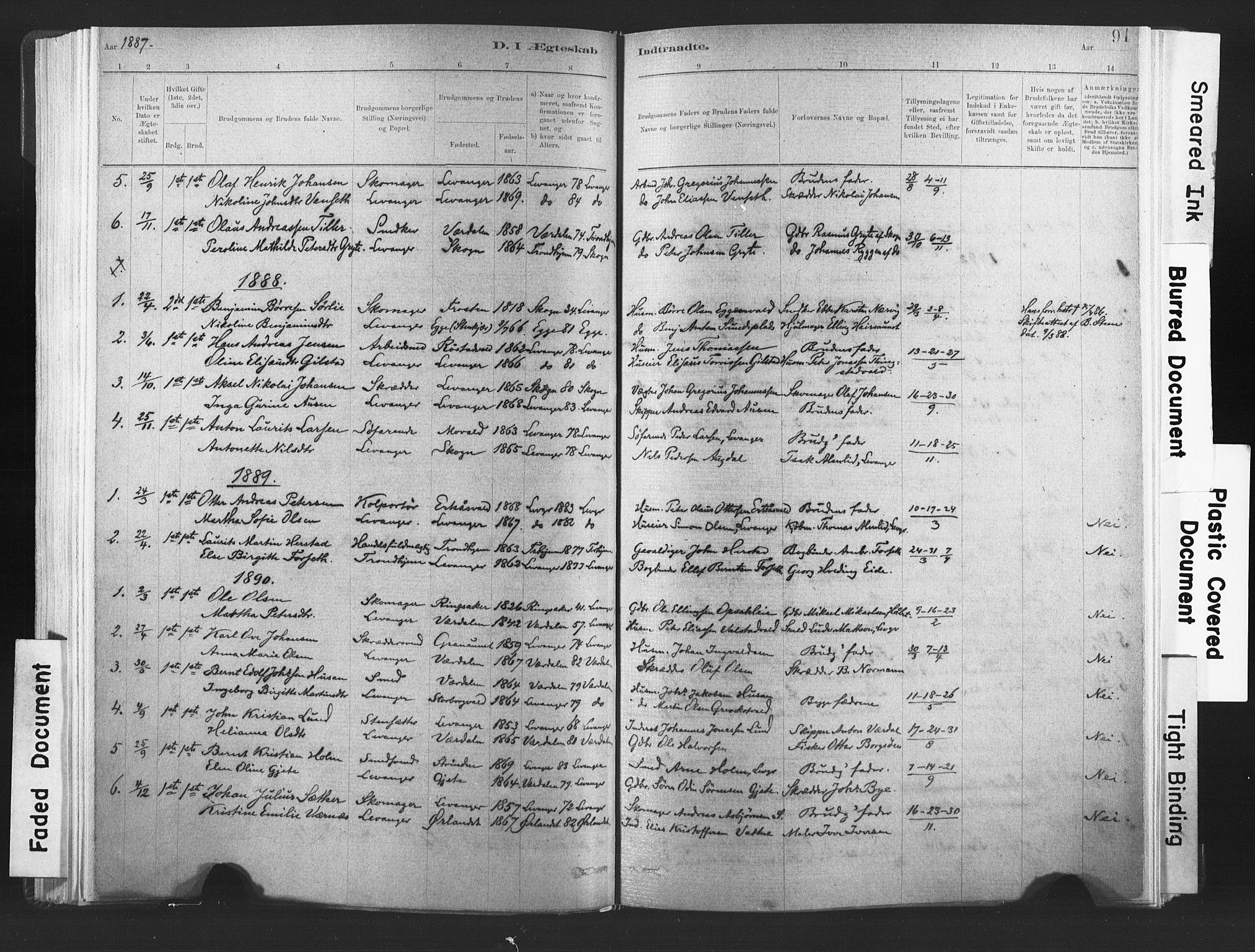 SAT, Ministerialprotokoller, klokkerbøker og fødselsregistre - Nord-Trøndelag, 720/L0189: Ministerialbok nr. 720A05, 1880-1911, s. 91