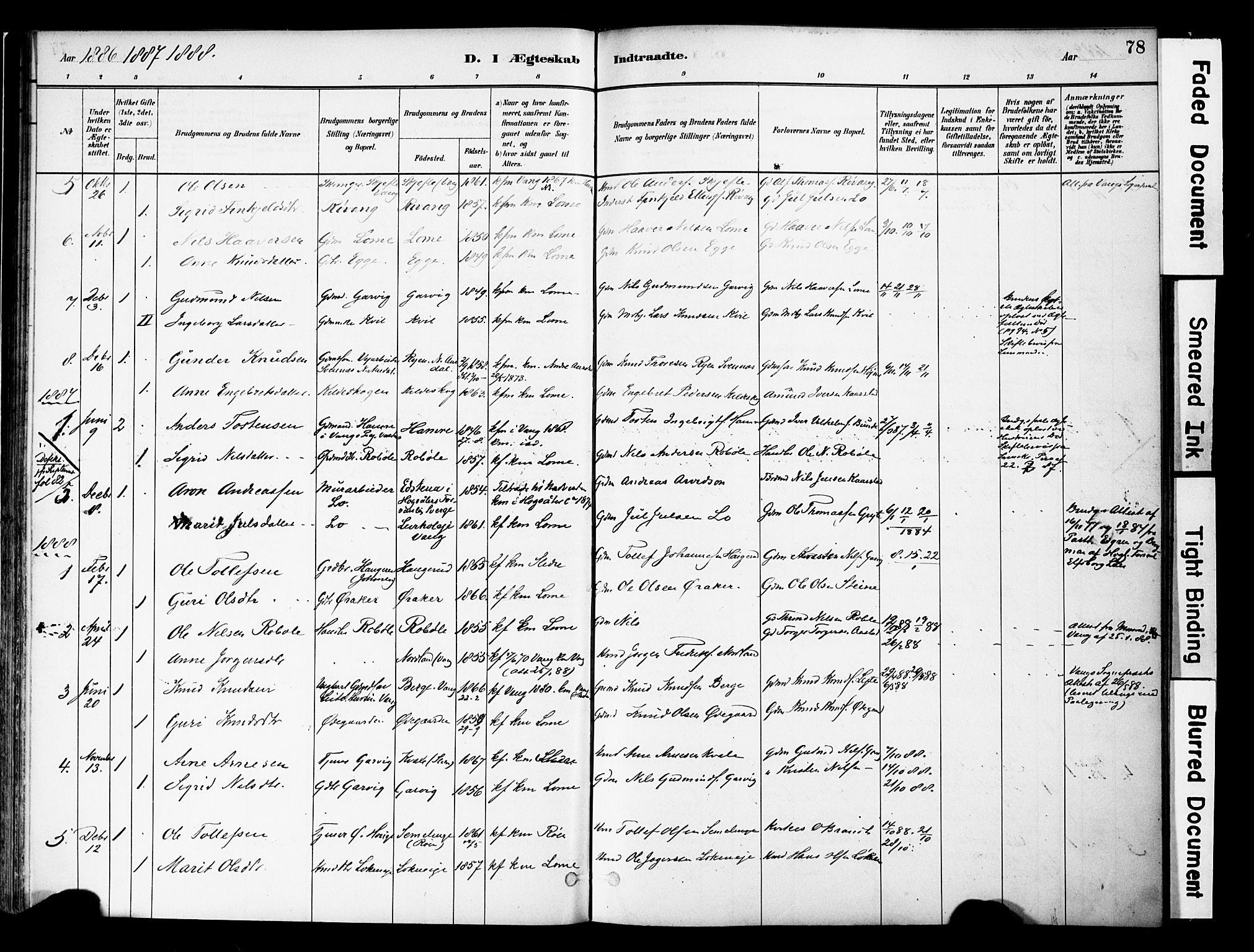 SAH, Vestre Slidre prestekontor, Ministerialbok nr. 5, 1881-1912, s. 78