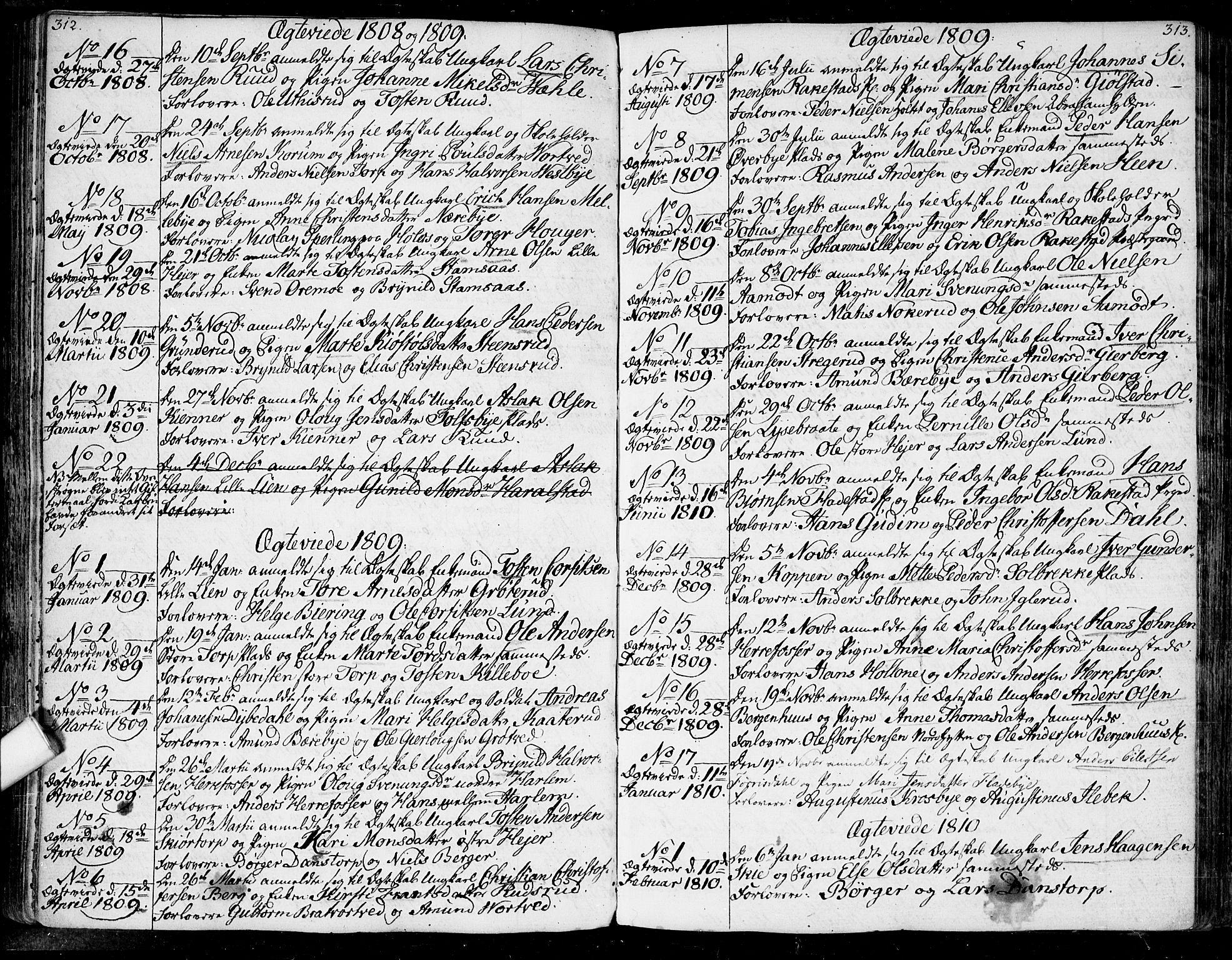 SAO, Rakkestad prestekontor Kirkebøker, F/Fa/L0005: Ministerialbok nr. I 5, 1784-1814, s. 312-313