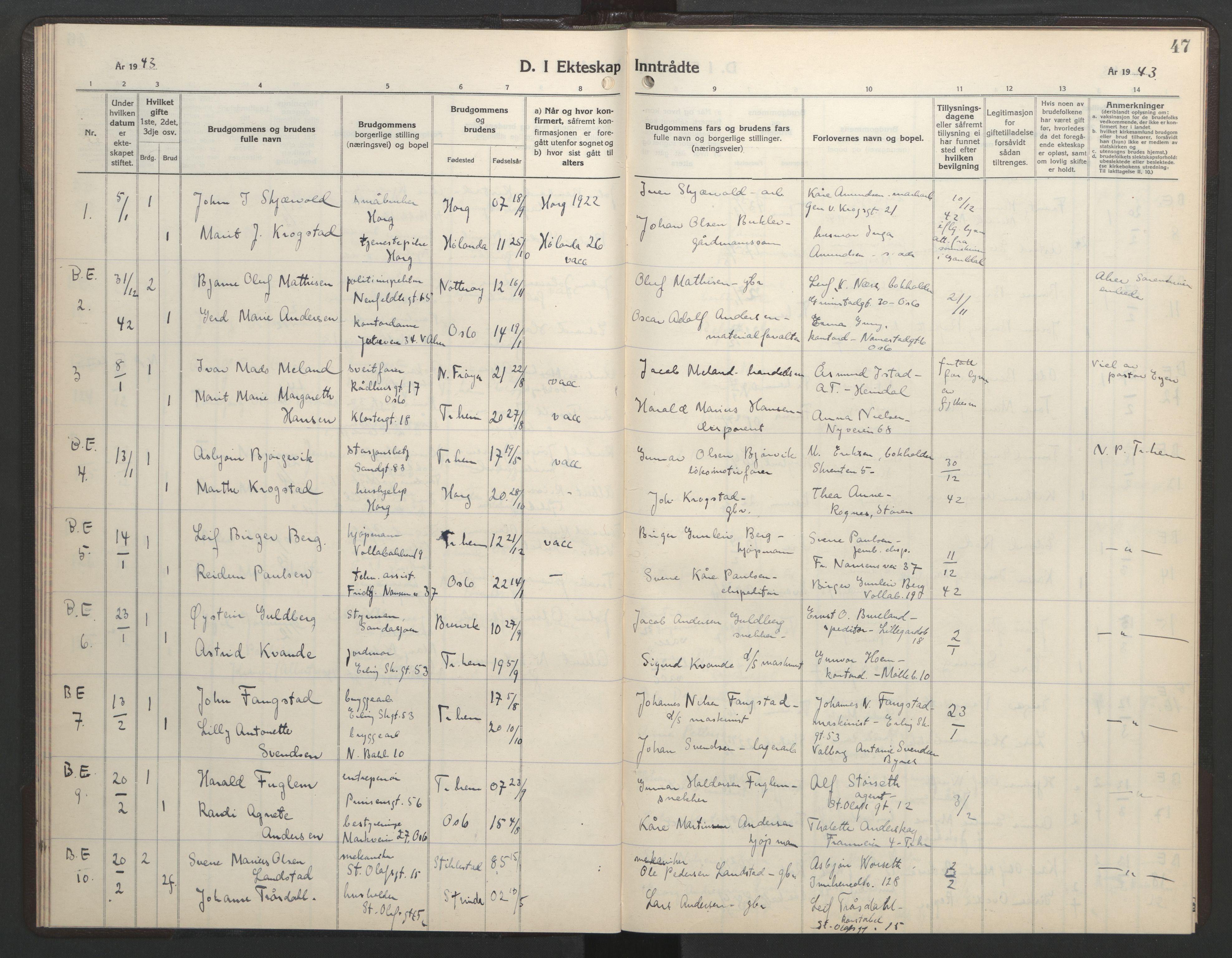 SAT, Ministerialprotokoller, klokkerbøker og fødselsregistre - Sør-Trøndelag, 602/L0154: Klokkerbok nr. 602C22, 1940-1947, s. 47