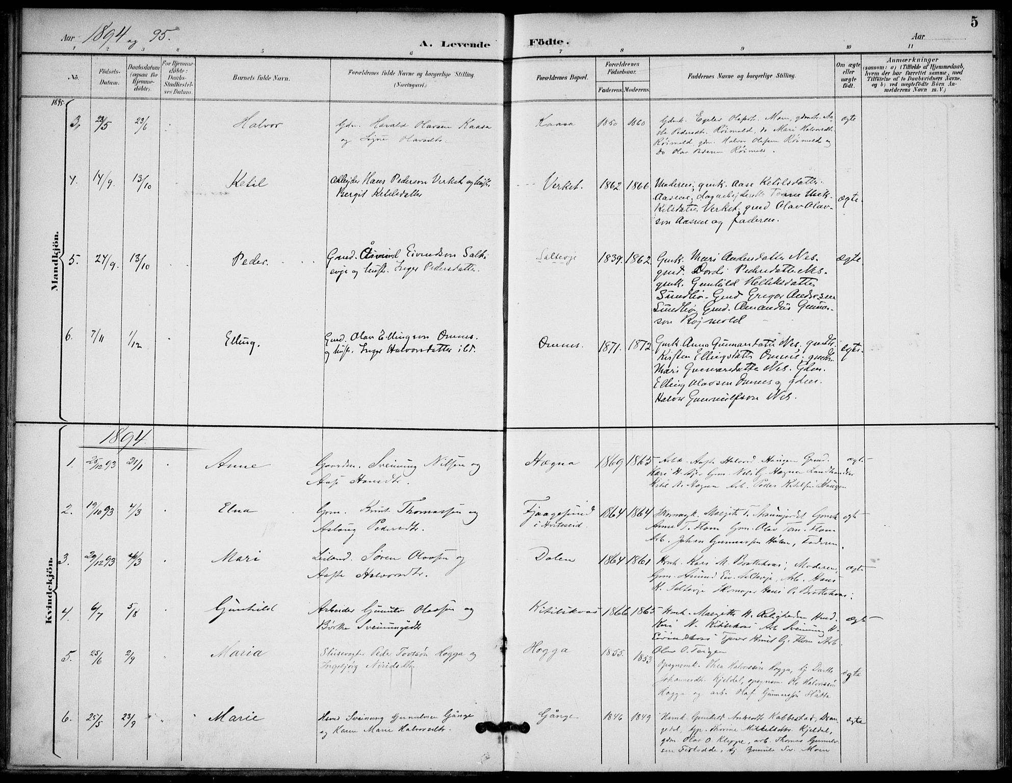 SAKO, Lunde kirkebøker, F/Fb/L0004: Ministerialbok nr. II 4, 1892-1907, s. 5