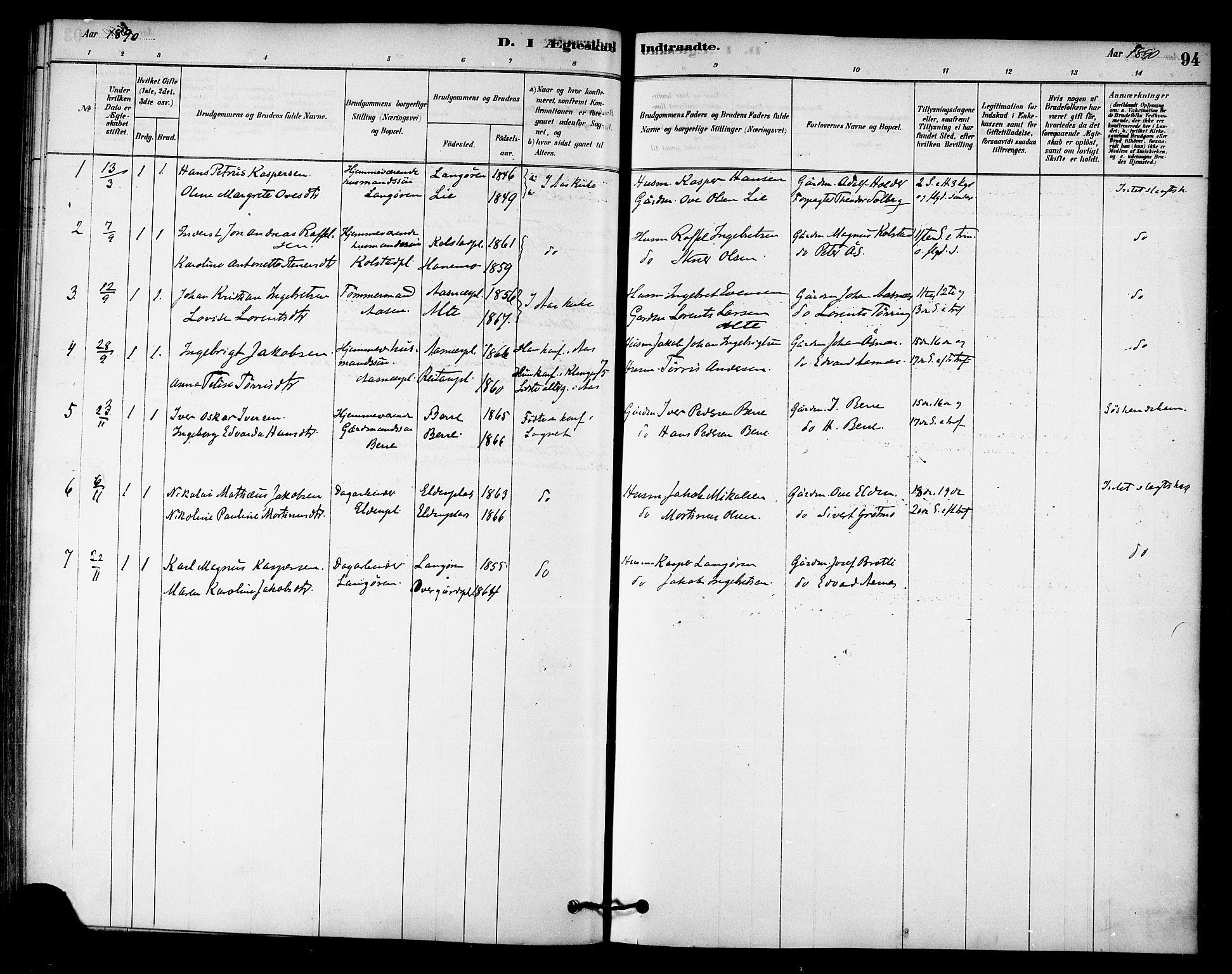 SAT, Ministerialprotokoller, klokkerbøker og fødselsregistre - Nord-Trøndelag, 742/L0408: Ministerialbok nr. 742A01, 1878-1890, s. 94