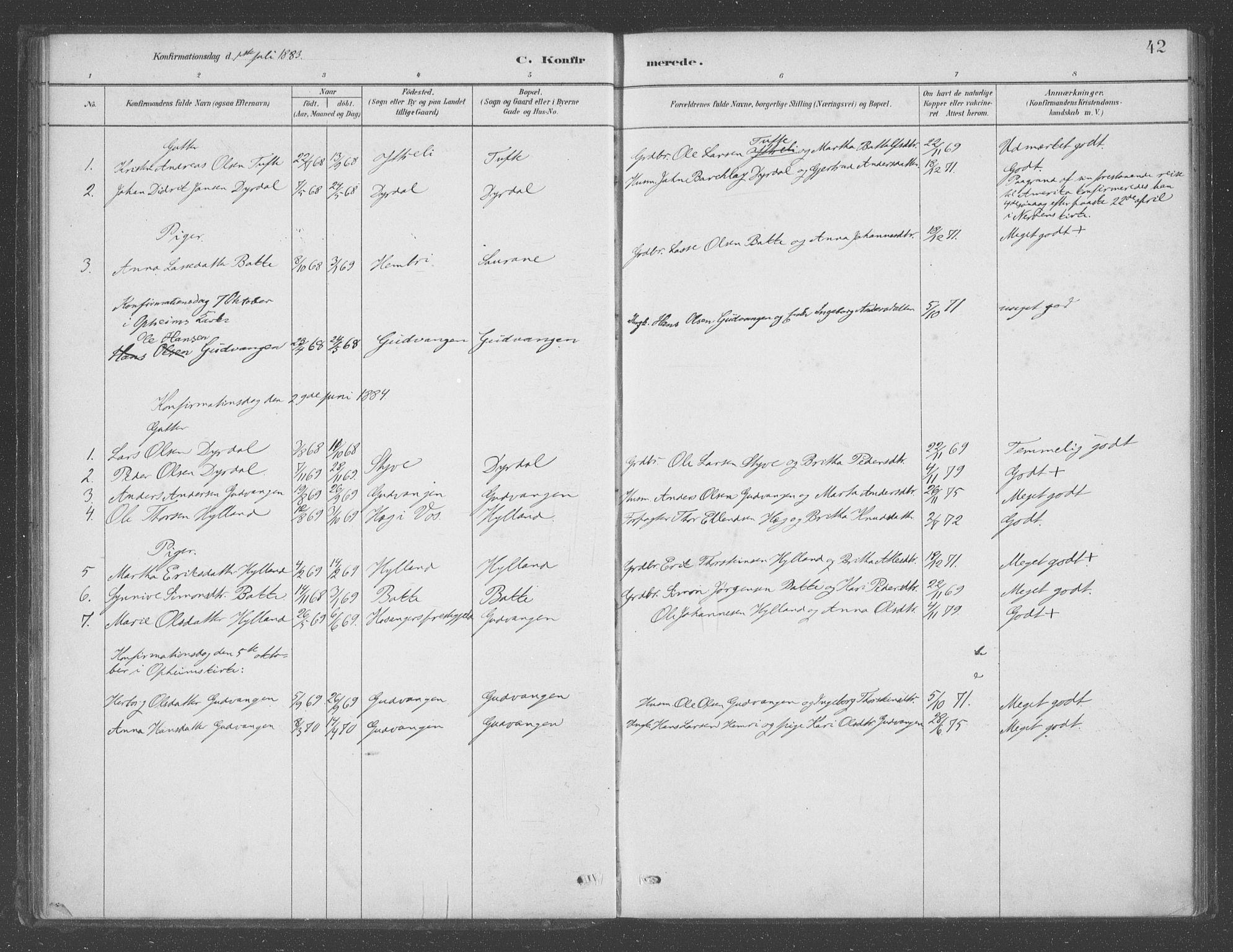SAB, Aurland sokneprestembete, H/Ha/Had/L0001: Ministerialbok nr. D  1, 1880-1903, s. 42