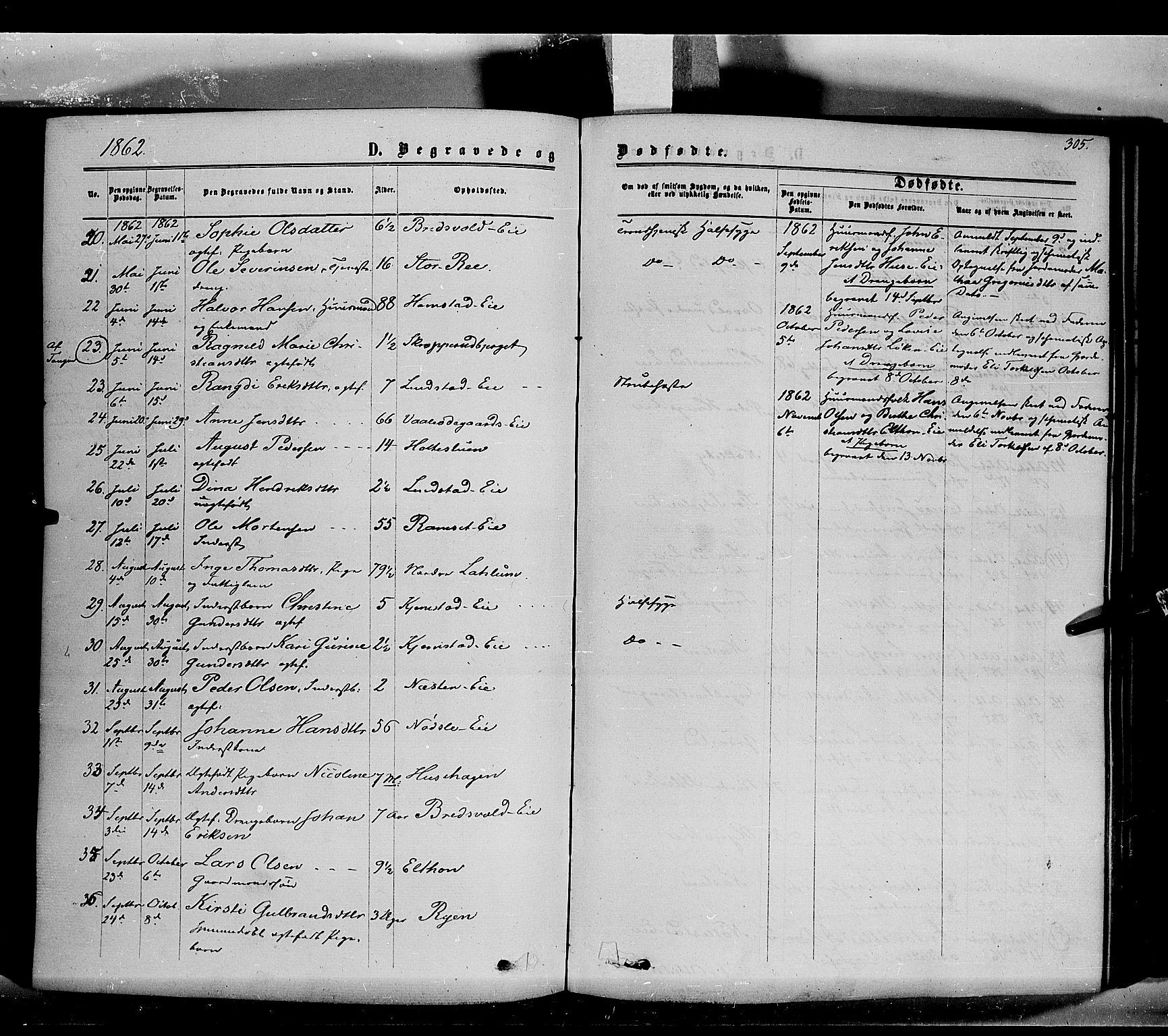 SAH, Stange prestekontor, K/L0013: Ministerialbok nr. 13, 1862-1879, s. 305