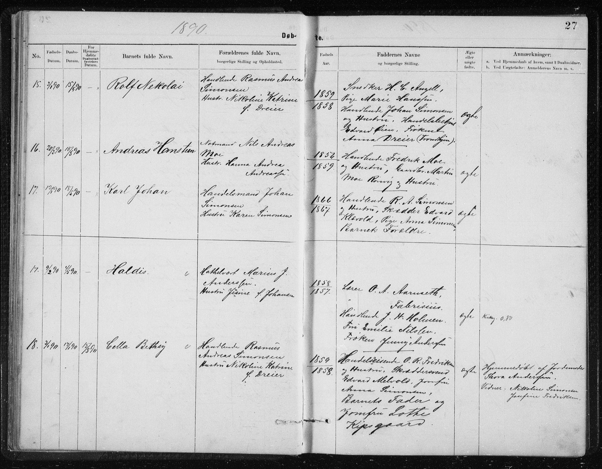 SAT, Ministerialprotokoller, klokkerbøker og fødselsregistre - Nordland, 801/L0032: Klokkerbok nr. 801C07, 1889-1897, s. 27