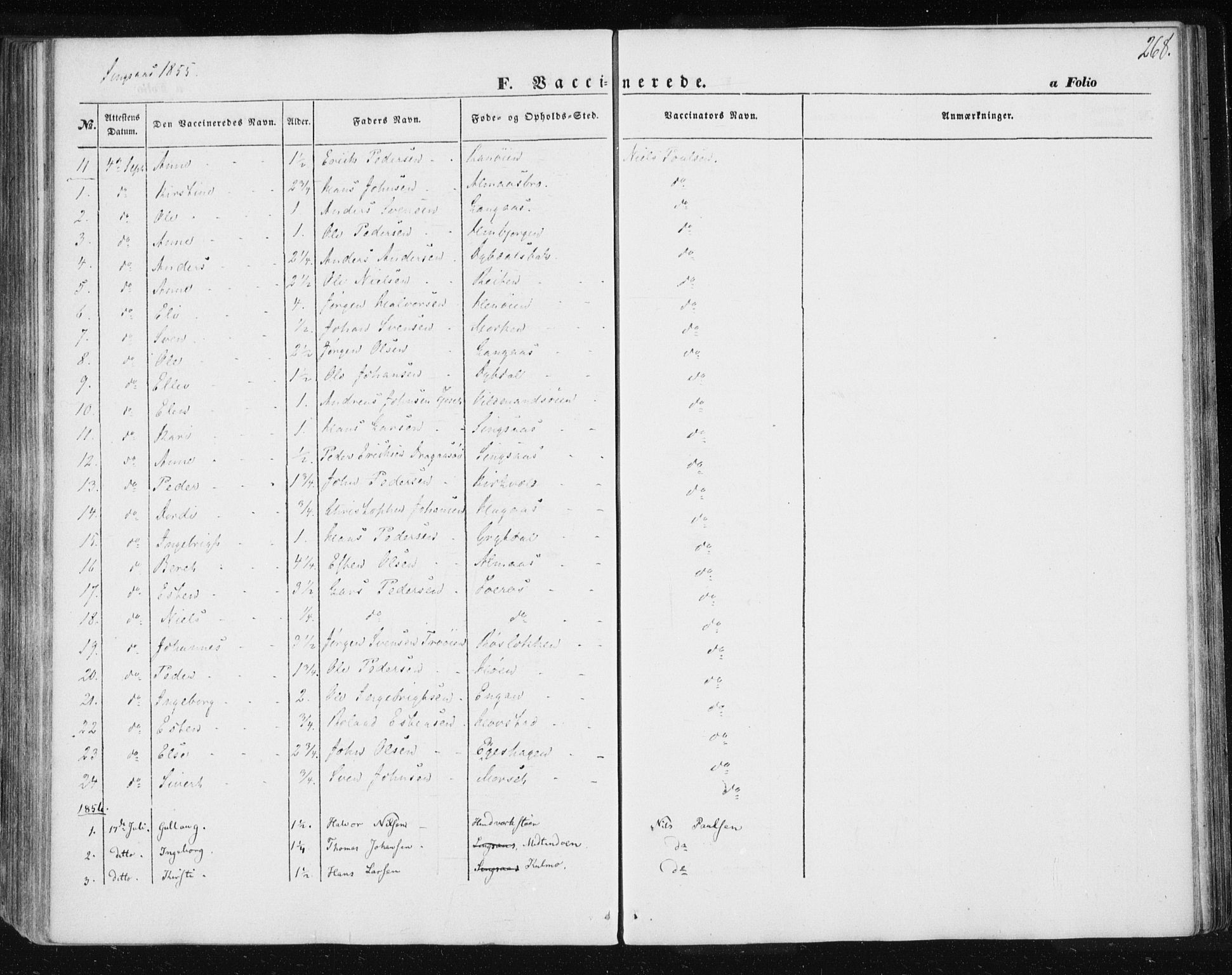 SAT, Ministerialprotokoller, klokkerbøker og fødselsregistre - Sør-Trøndelag, 685/L0964: Ministerialbok nr. 685A06 /2, 1846-1859, s. 268