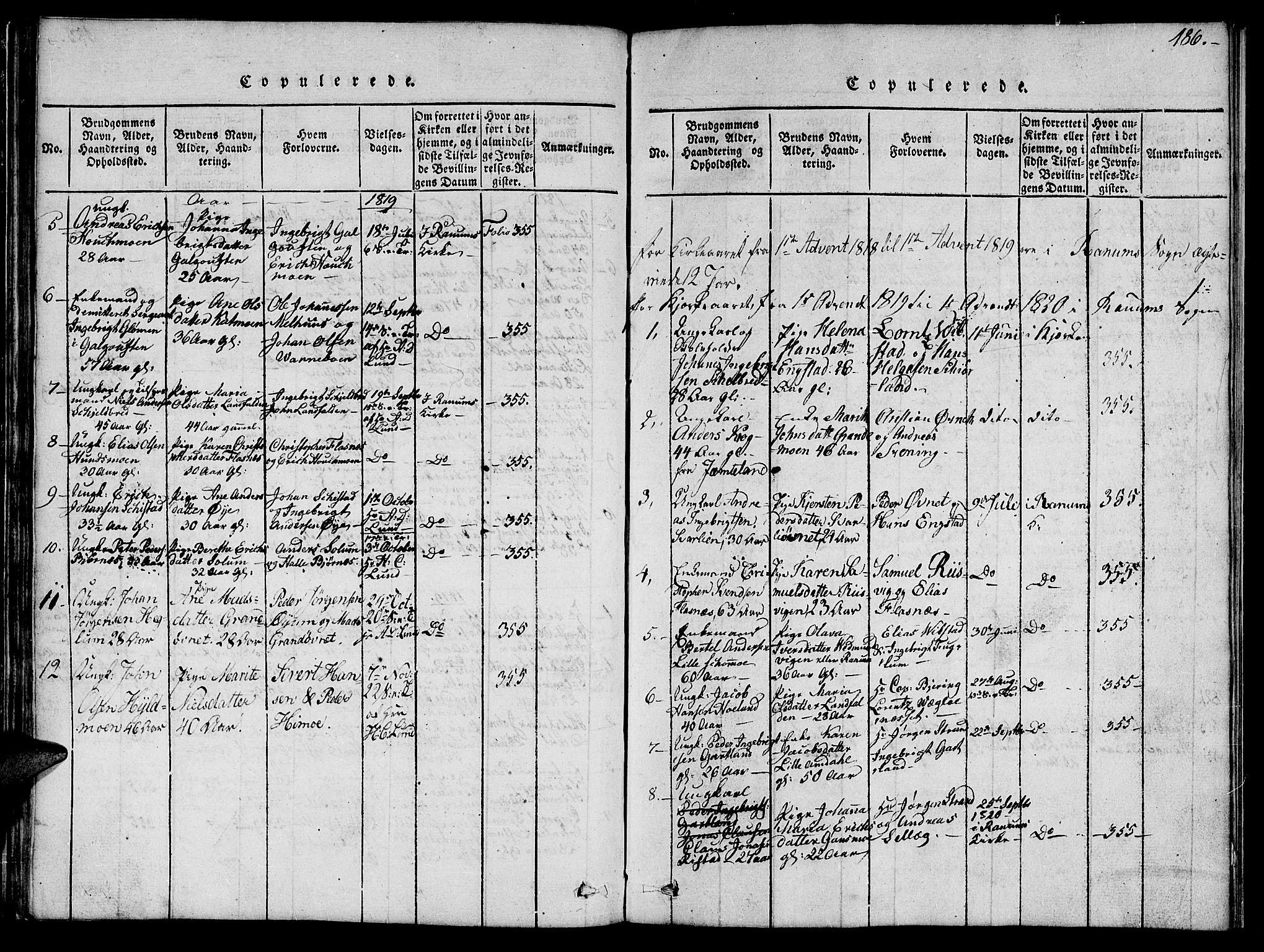 SAT, Ministerialprotokoller, klokkerbøker og fødselsregistre - Nord-Trøndelag, 764/L0559: Klokkerbok nr. 764C01, 1816-1824, s. 186
