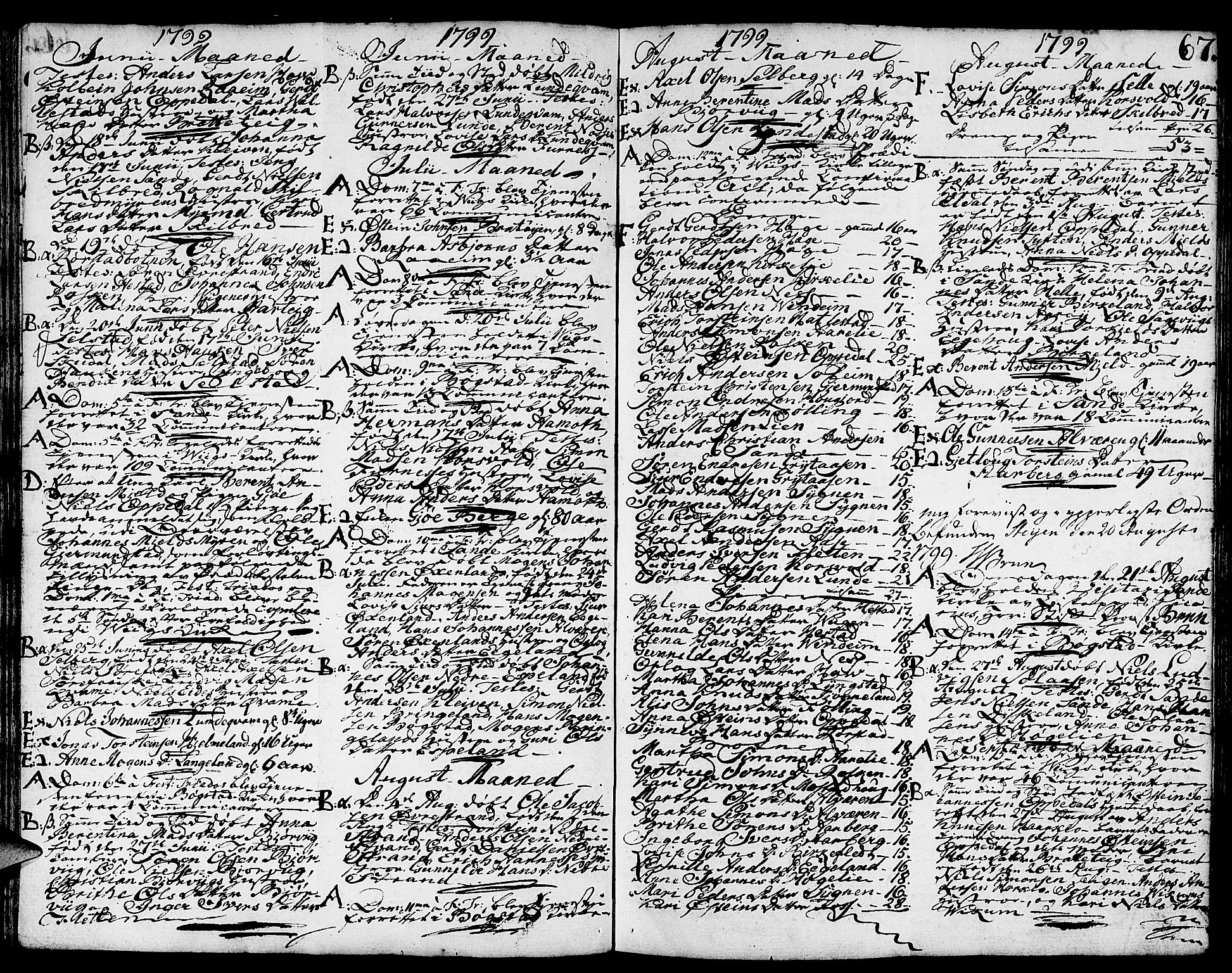 SAB, Gaular sokneprestembete, H/Haa: Ministerialbok nr. A 2, 1785-1821, s. 67
