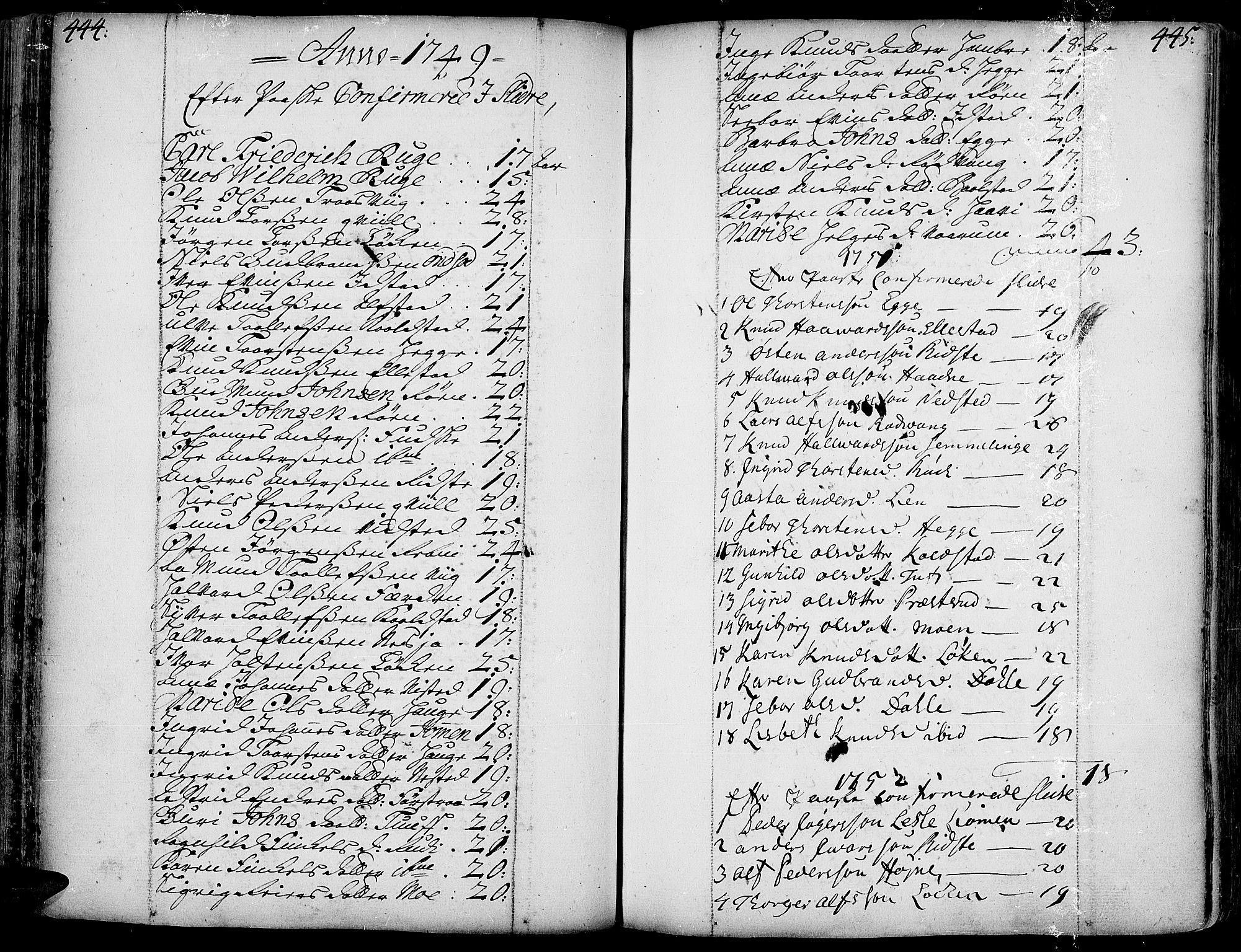 SAH, Slidre prestekontor, Ministerialbok nr. 1, 1724-1814, s. 444-445