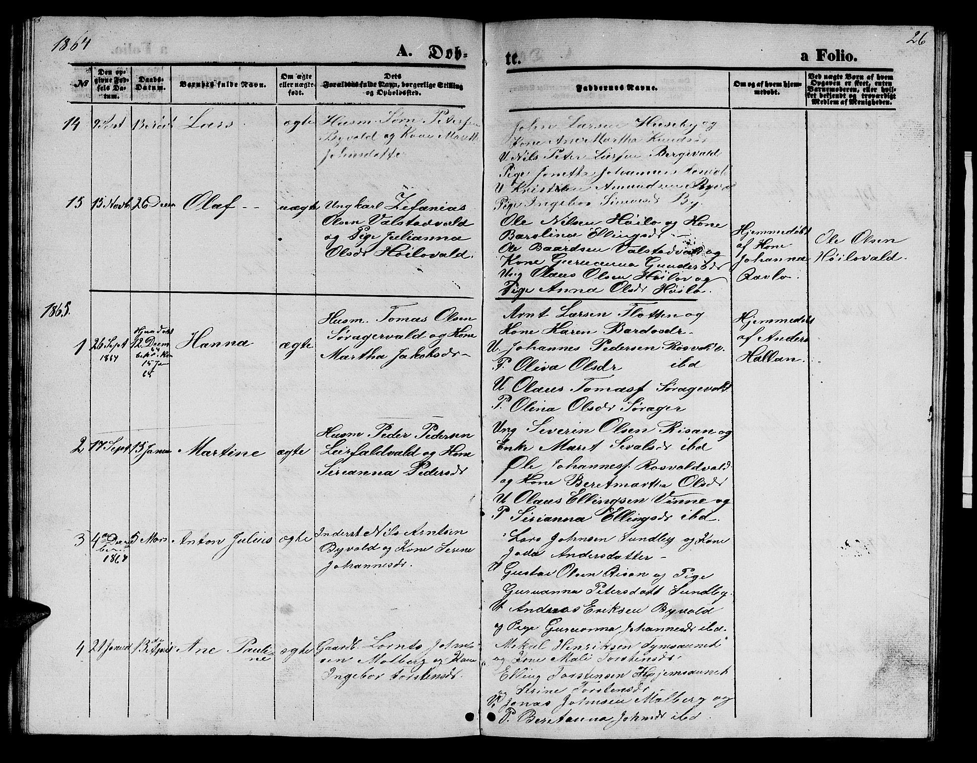 SAT, Ministerialprotokoller, klokkerbøker og fødselsregistre - Nord-Trøndelag, 726/L0270: Klokkerbok nr. 726C01, 1858-1868, s. 26