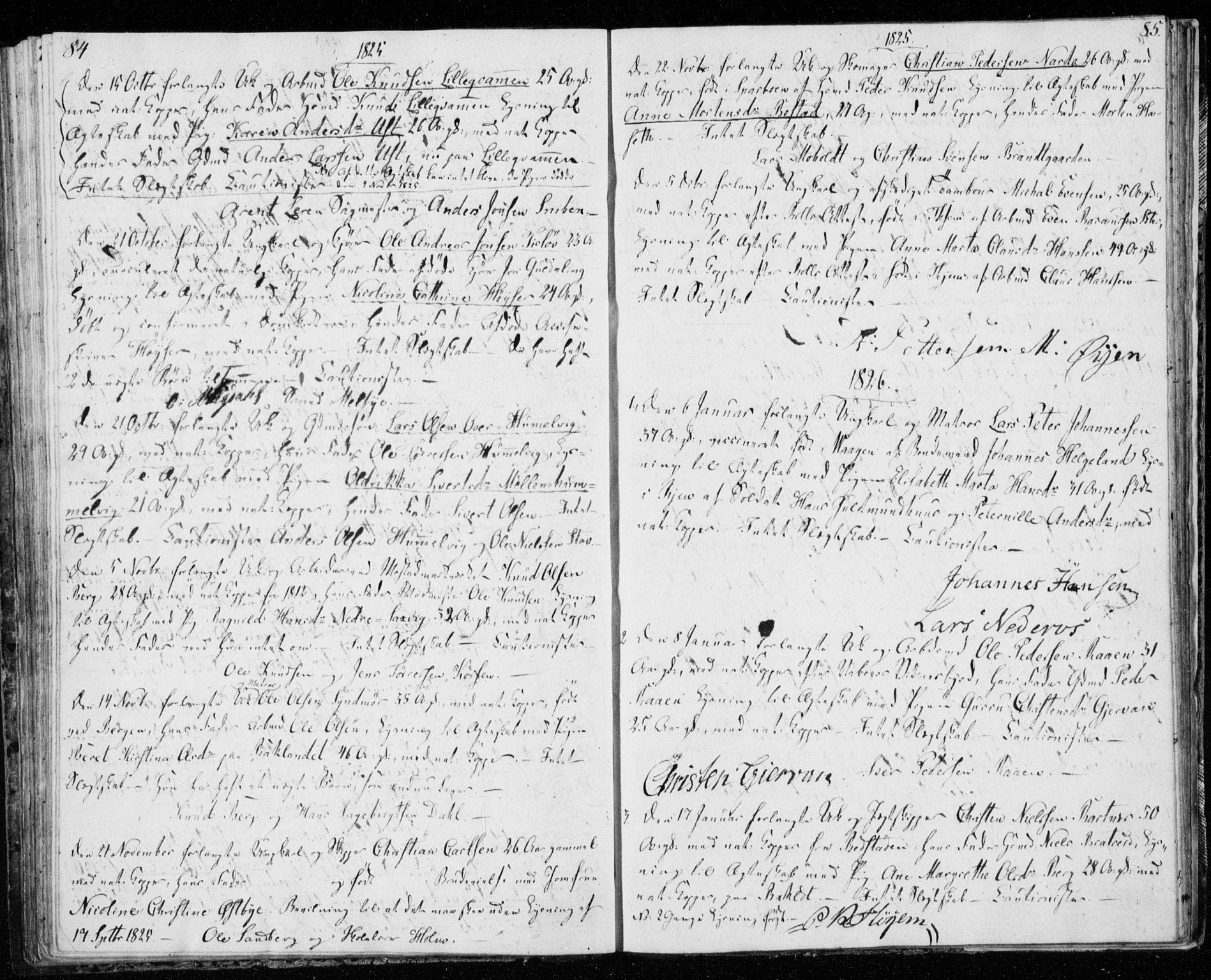 SAT, Ministerialprotokoller, klokkerbøker og fødselsregistre - Sør-Trøndelag, 606/L0295: Lysningsprotokoll nr. 606A10, 1815-1833, s. 84-85