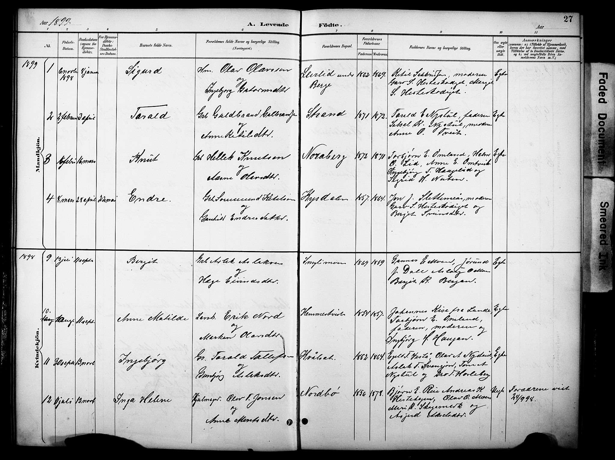 SAKO, Kviteseid kirkebøker, G/Gb/L0003: Klokkerbok nr. II 3, 1893-1933, s. 27