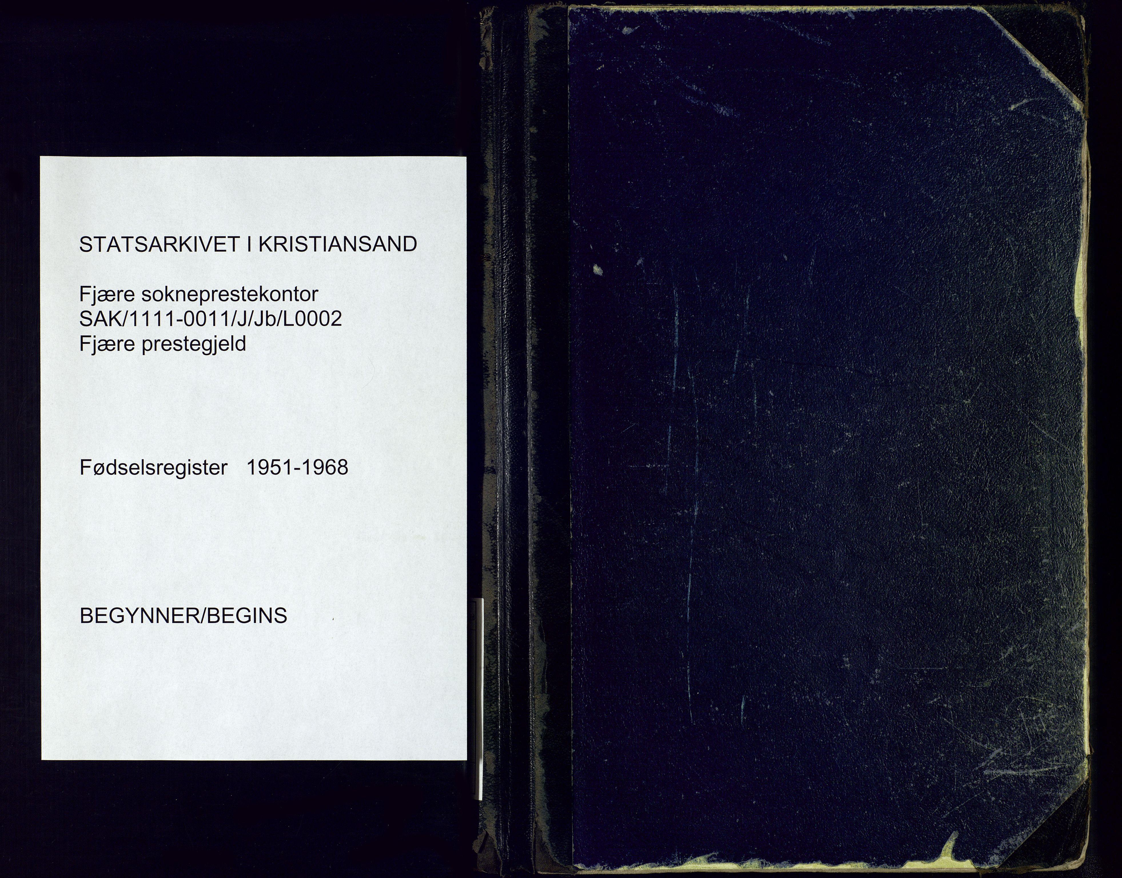 SAK, Fjære sokneprestkontor, J/Jb/L0002: Fødselsregister nr. 2, 1951-1968
