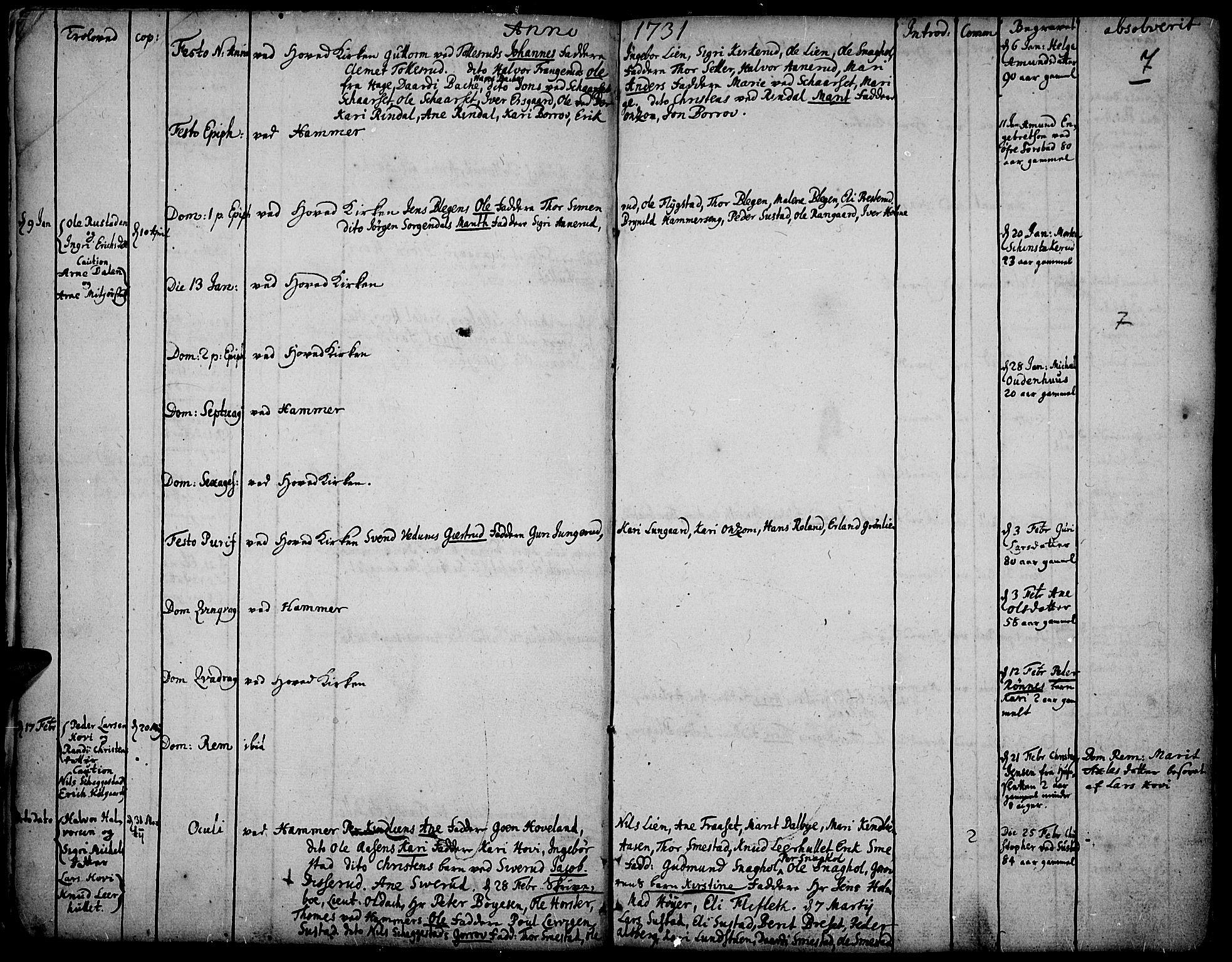 SAH, Fåberg prestekontor, Ministerialbok nr. 1, 1727-1775, s. 7