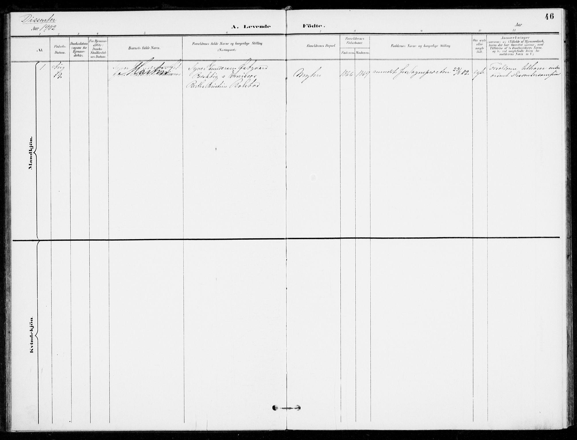 SAKO, Åssiden kirkebøker, F/Fa/L0002: Ministerialbok nr. 2, 1896-1916, s. 46