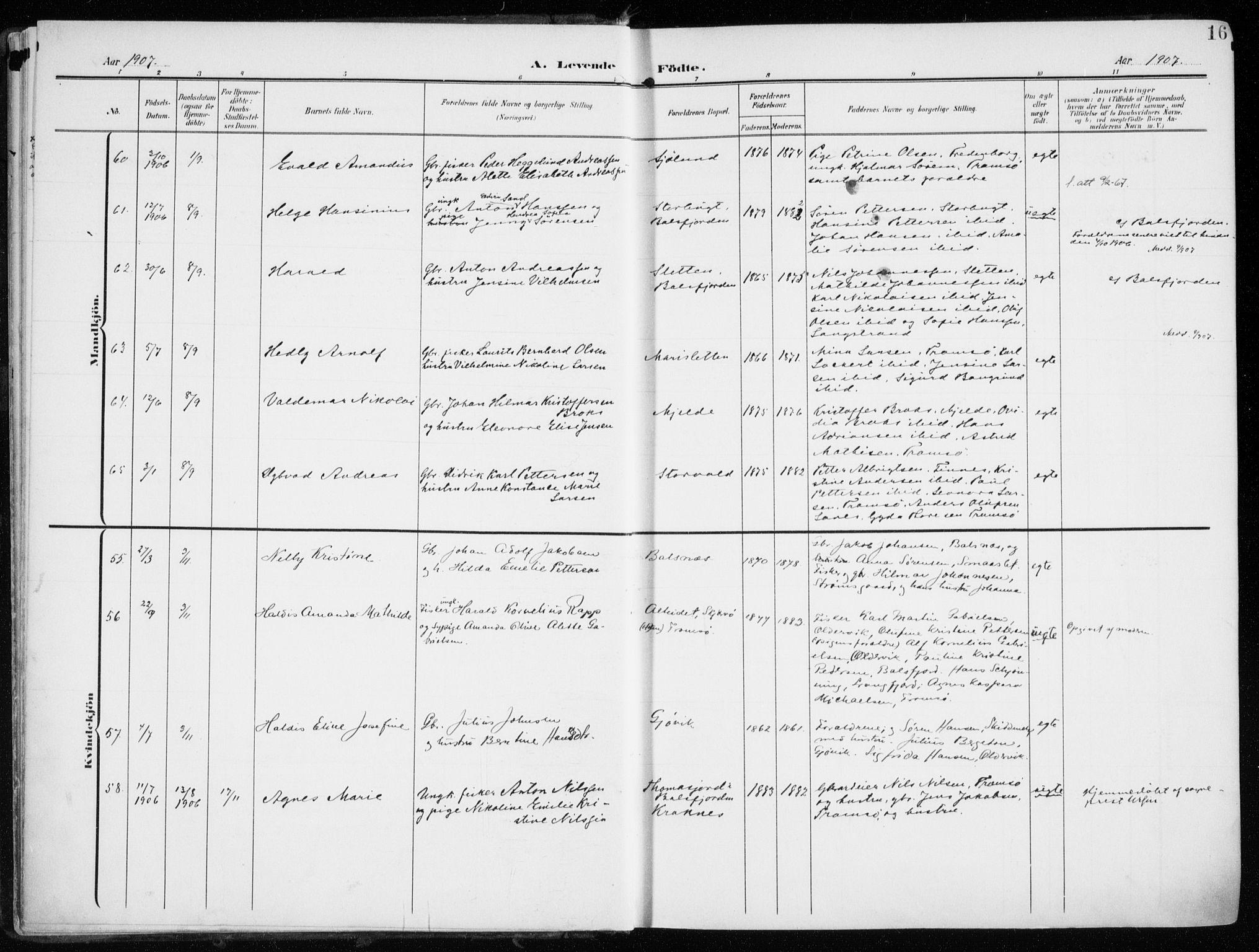 SATØ, Tromsøysund sokneprestkontor, G/Ga/L0007kirke: Ministerialbok nr. 7, 1907-1914, s. 16