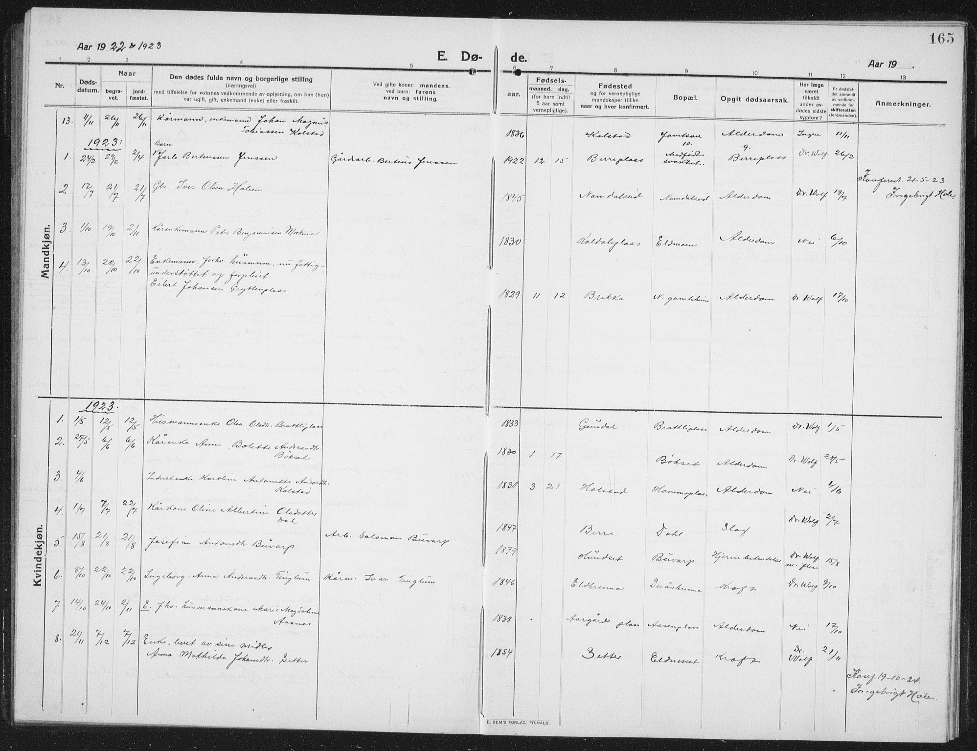 SAT, Ministerialprotokoller, klokkerbøker og fødselsregistre - Nord-Trøndelag, 742/L0413: Klokkerbok nr. 742C04, 1911-1938, s. 165
