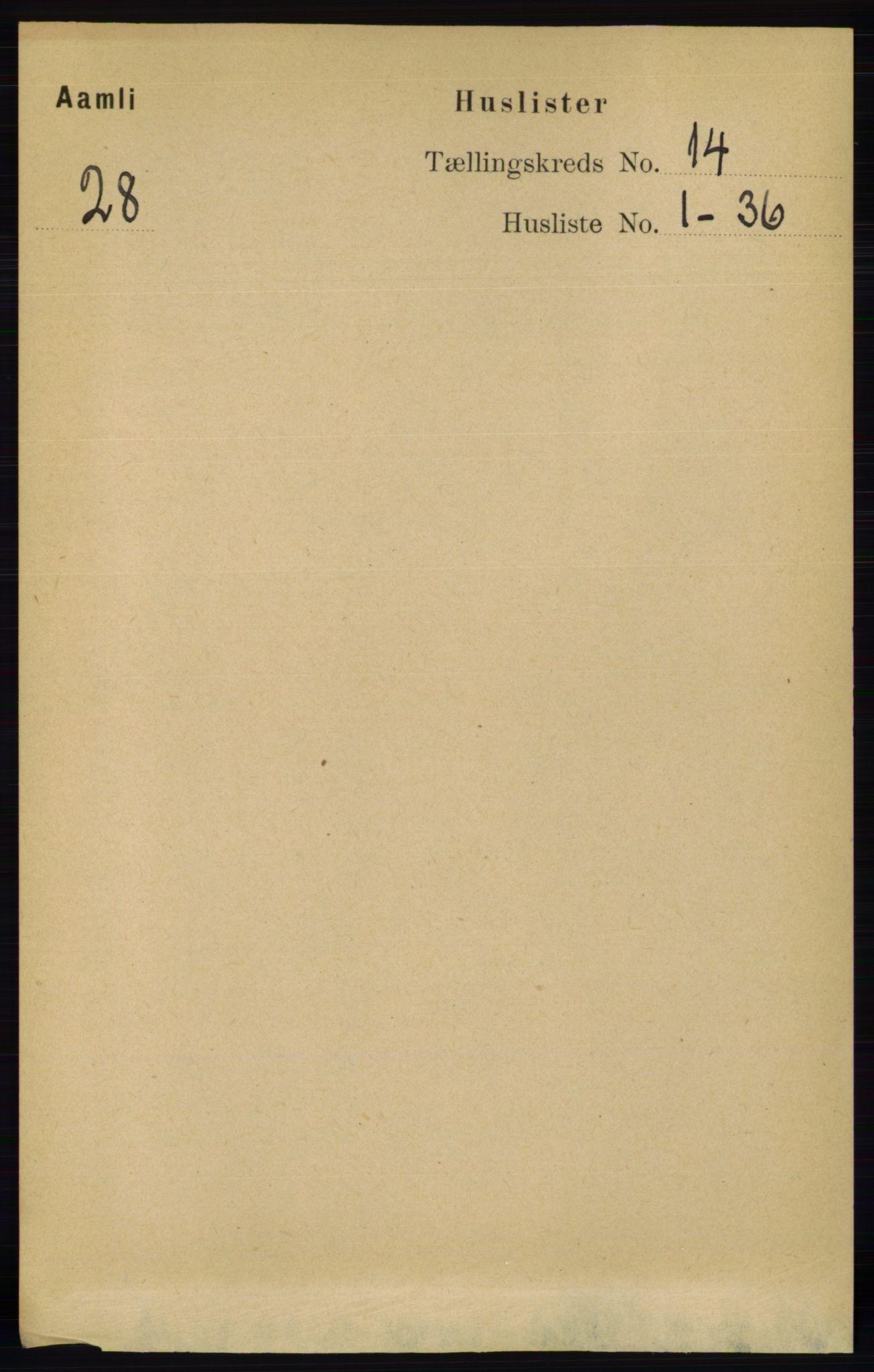 RA, Folketelling 1891 for 0929 Åmli herred, 1891, s. 2226