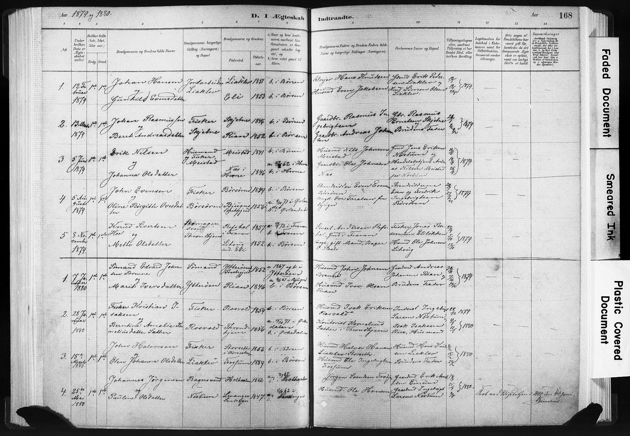 SAT, Ministerialprotokoller, klokkerbøker og fødselsregistre - Sør-Trøndelag, 665/L0773: Ministerialbok nr. 665A08, 1879-1905, s. 168