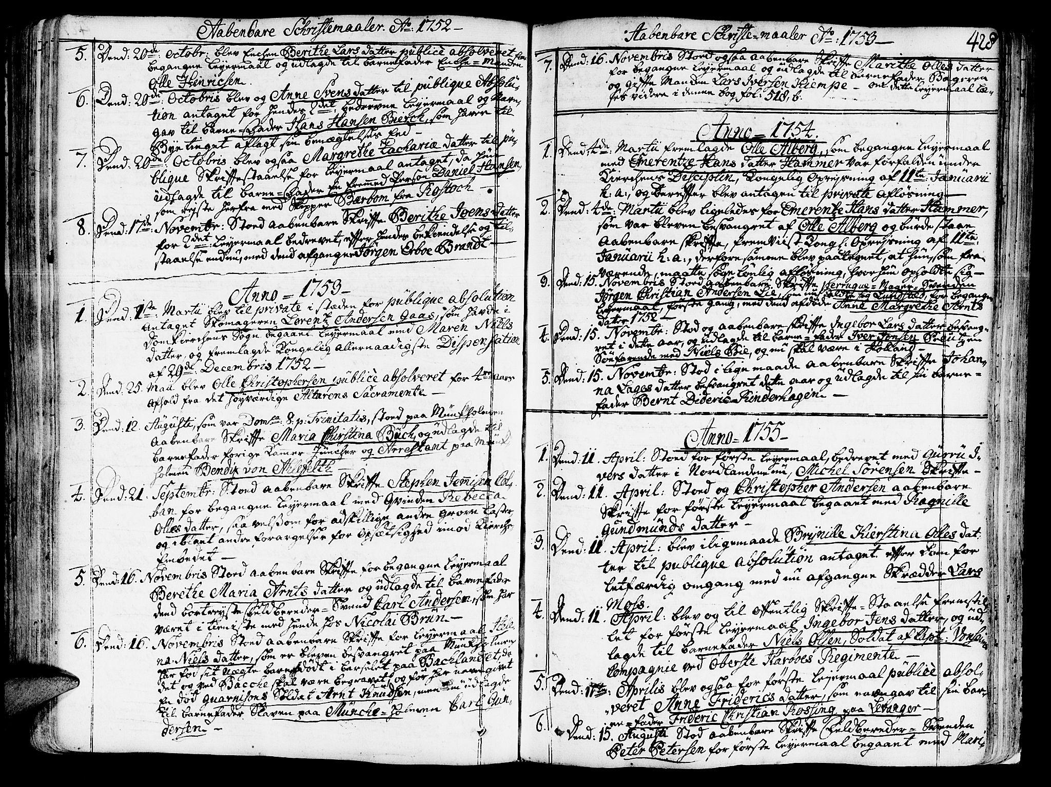 SAT, Ministerialprotokoller, klokkerbøker og fødselsregistre - Sør-Trøndelag, 602/L0103: Ministerialbok nr. 602A01, 1732-1774, s. 428