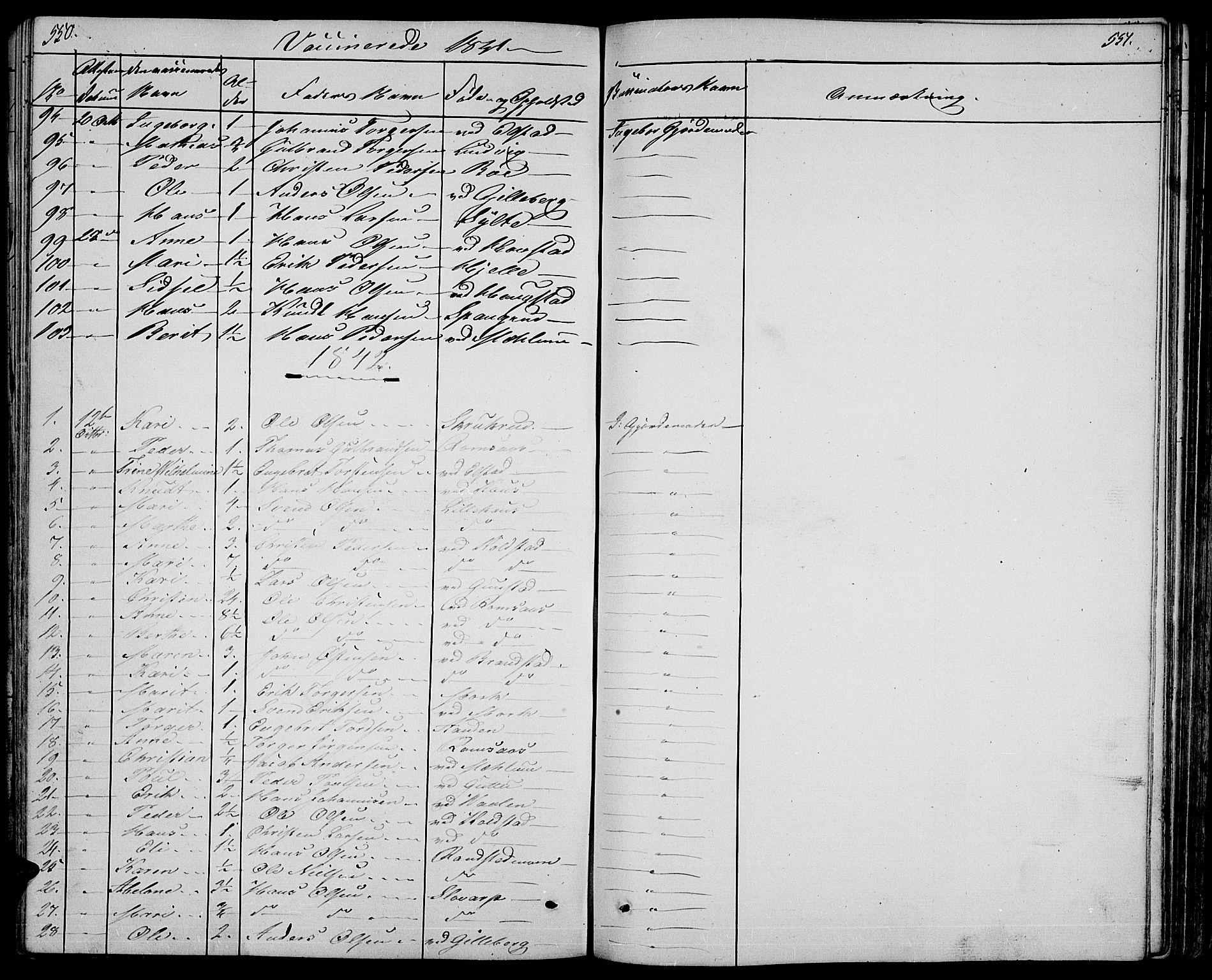 SAH, Ringebu prestekontor, Klokkerbok nr. 2, 1839-1853, s. 550-551